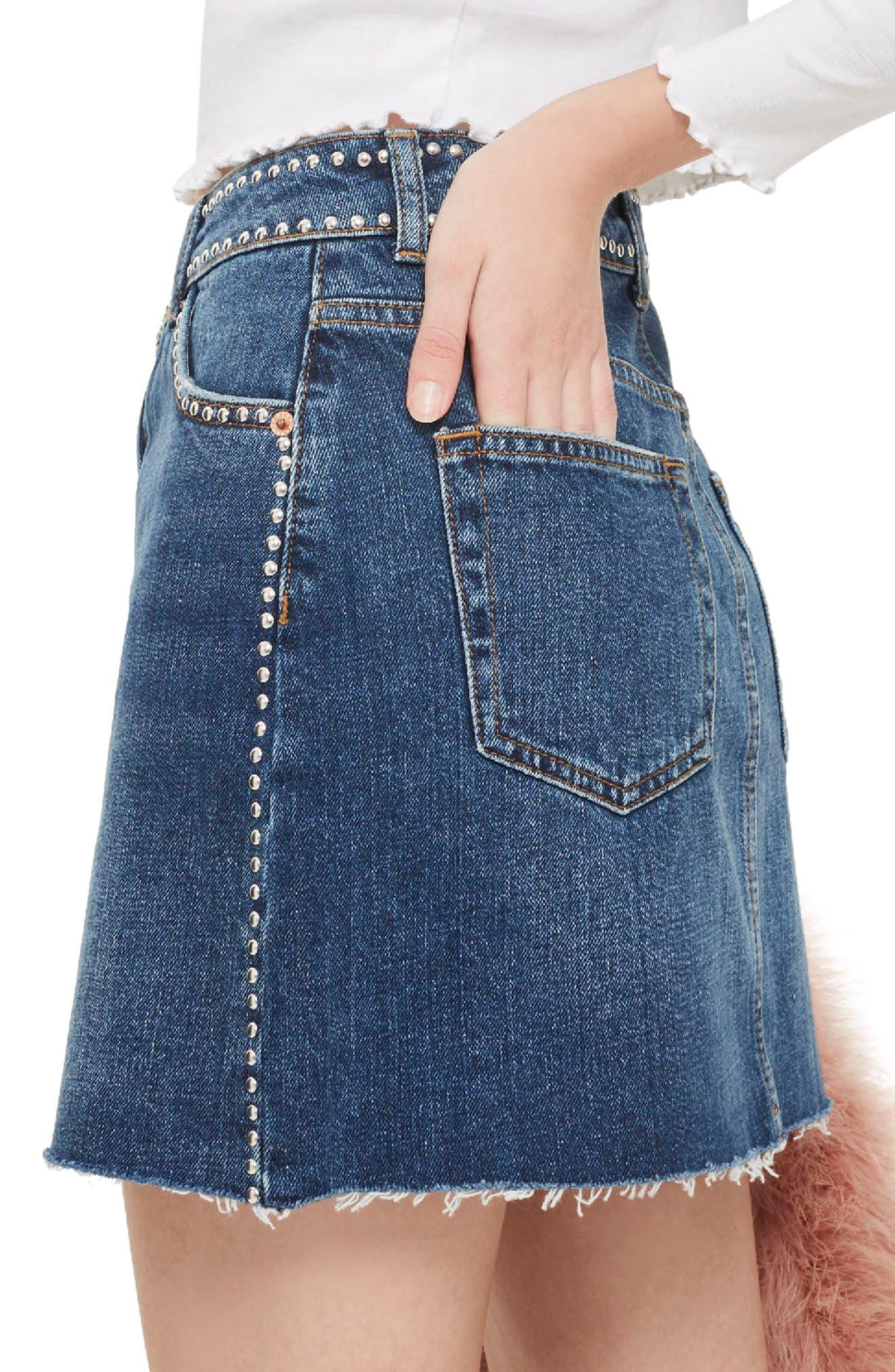 Studded Denim Skirt,                             Alternate thumbnail 3, color,                             Mid Denim