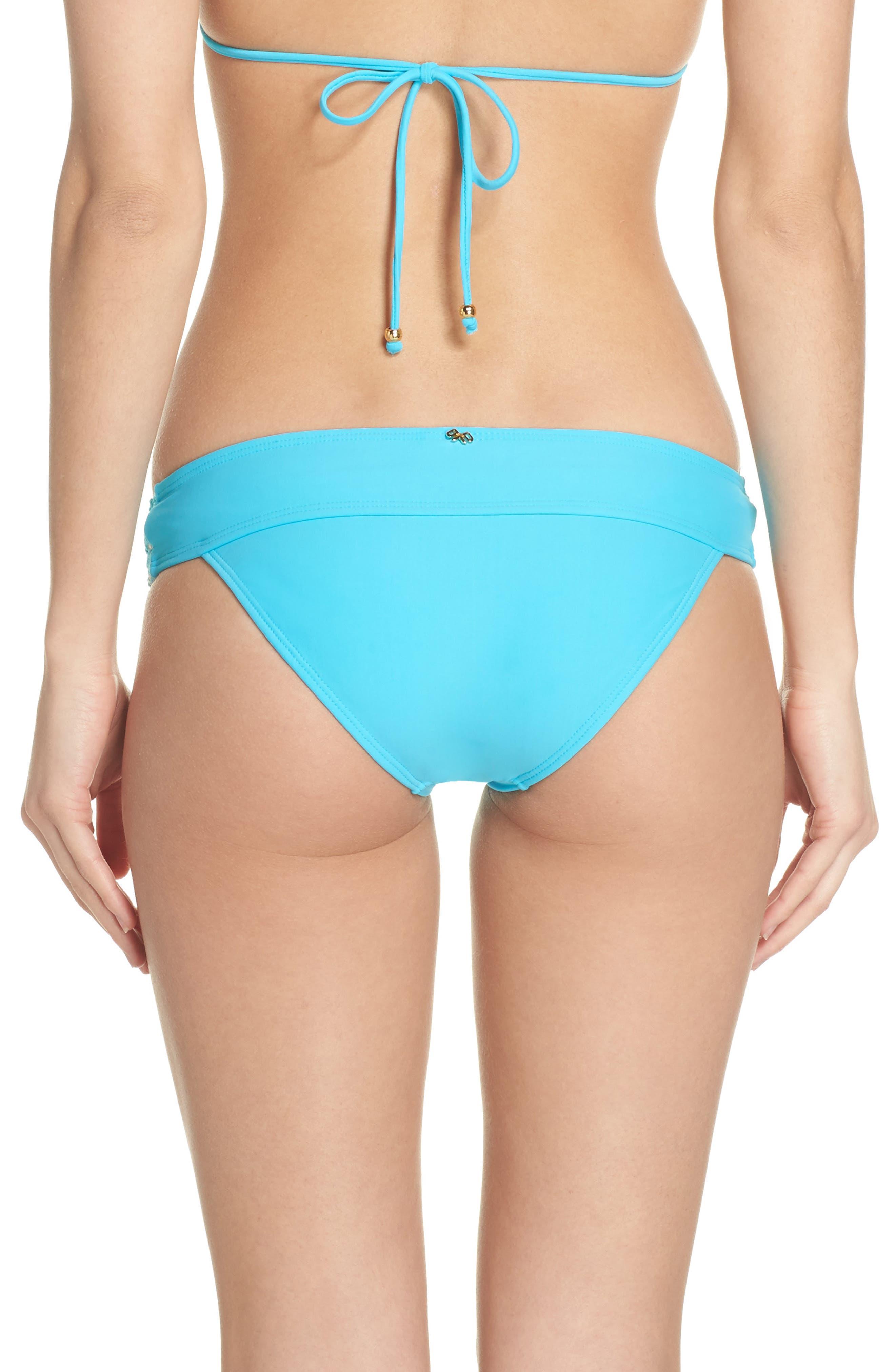 Banded Lace Bikini Bottoms,                             Alternate thumbnail 2, color,                             Marine