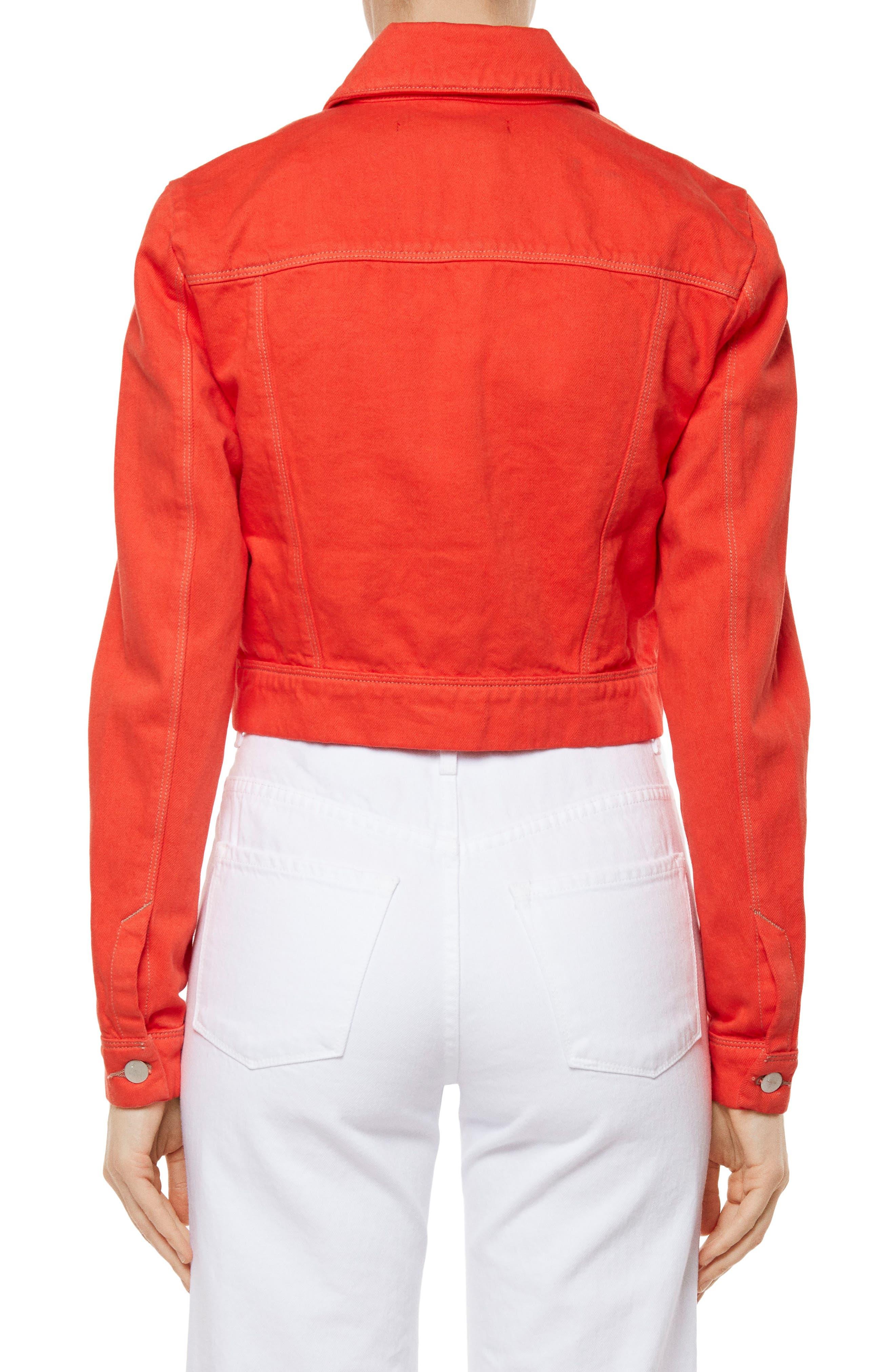 Faye Crop Denim Jacket,                             Alternate thumbnail 2, color,                             Bright Coral