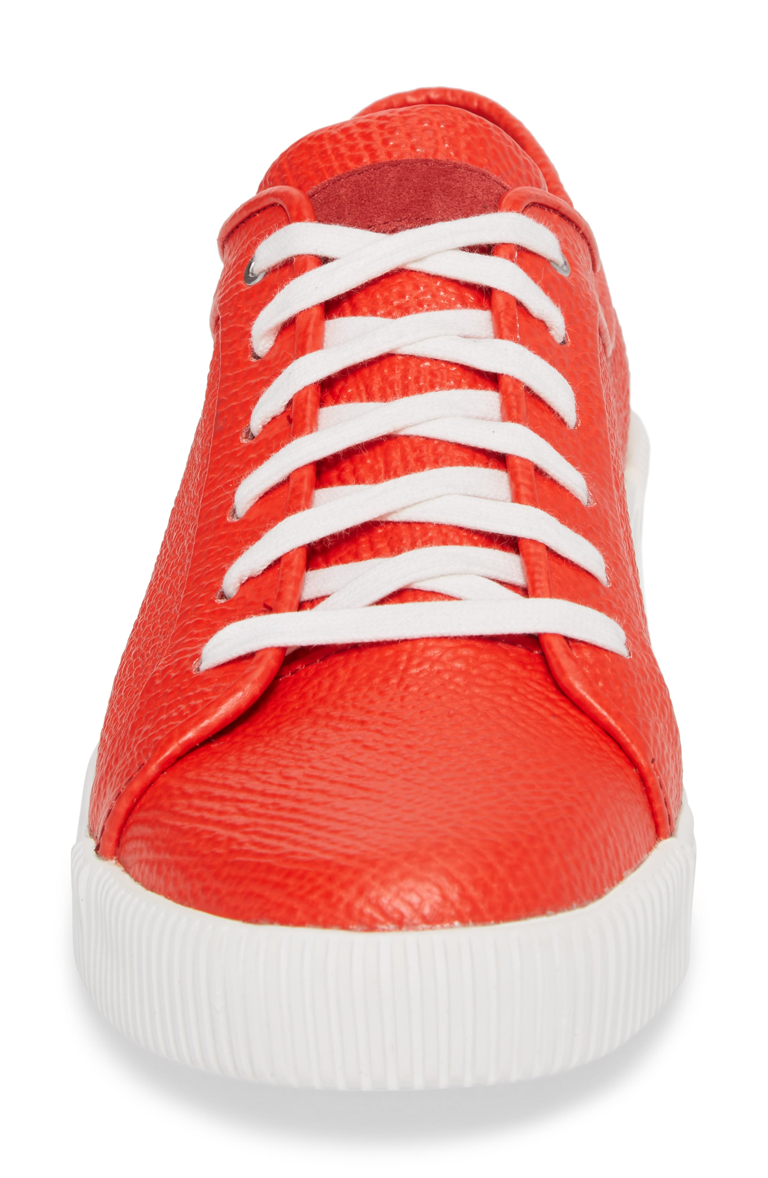 Lyons Low Top Sneaker,                             Alternate thumbnail 4, color,                             Red Leather