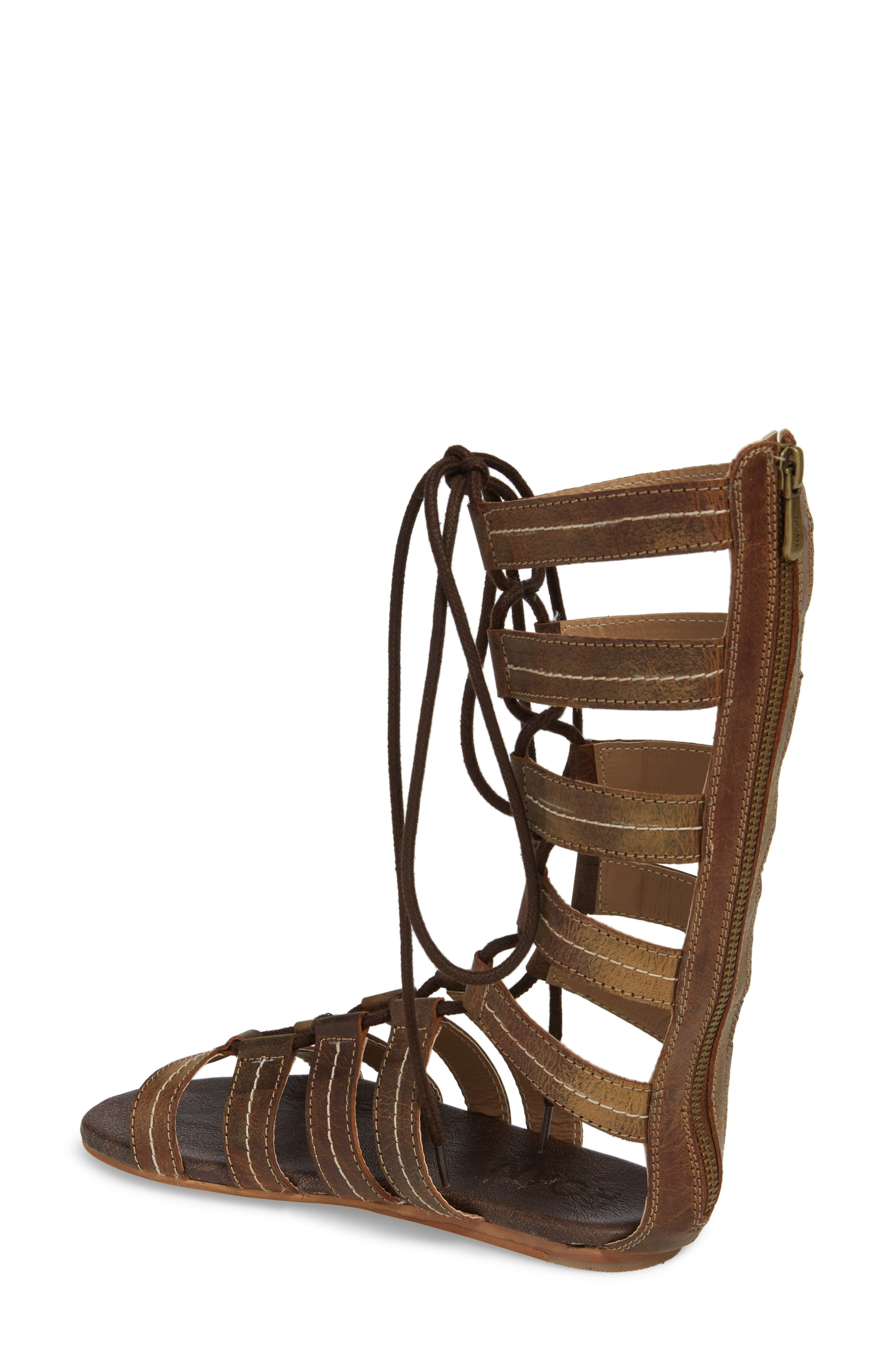 Rhea Lace-Up Gladiator Sandal,                             Alternate thumbnail 2, color,                             Tan Greenland
