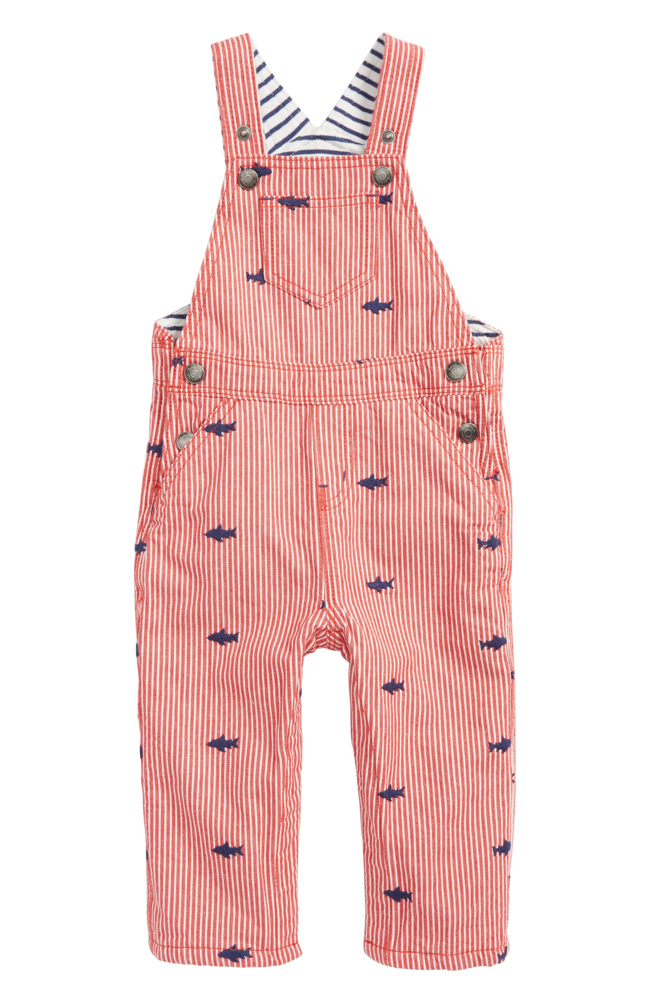 Classic Dungaree Overalls,                         Main,                         color, Salsa Red Ticking Stripe