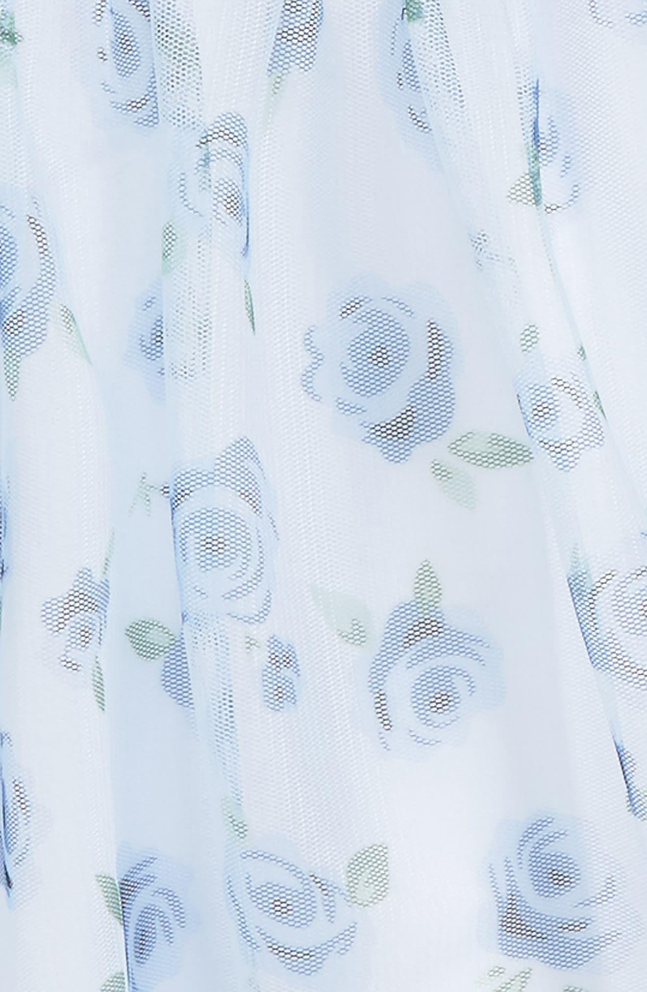 Floral Print Mesh Dress,                             Alternate thumbnail 2, color,                             Light Blue
