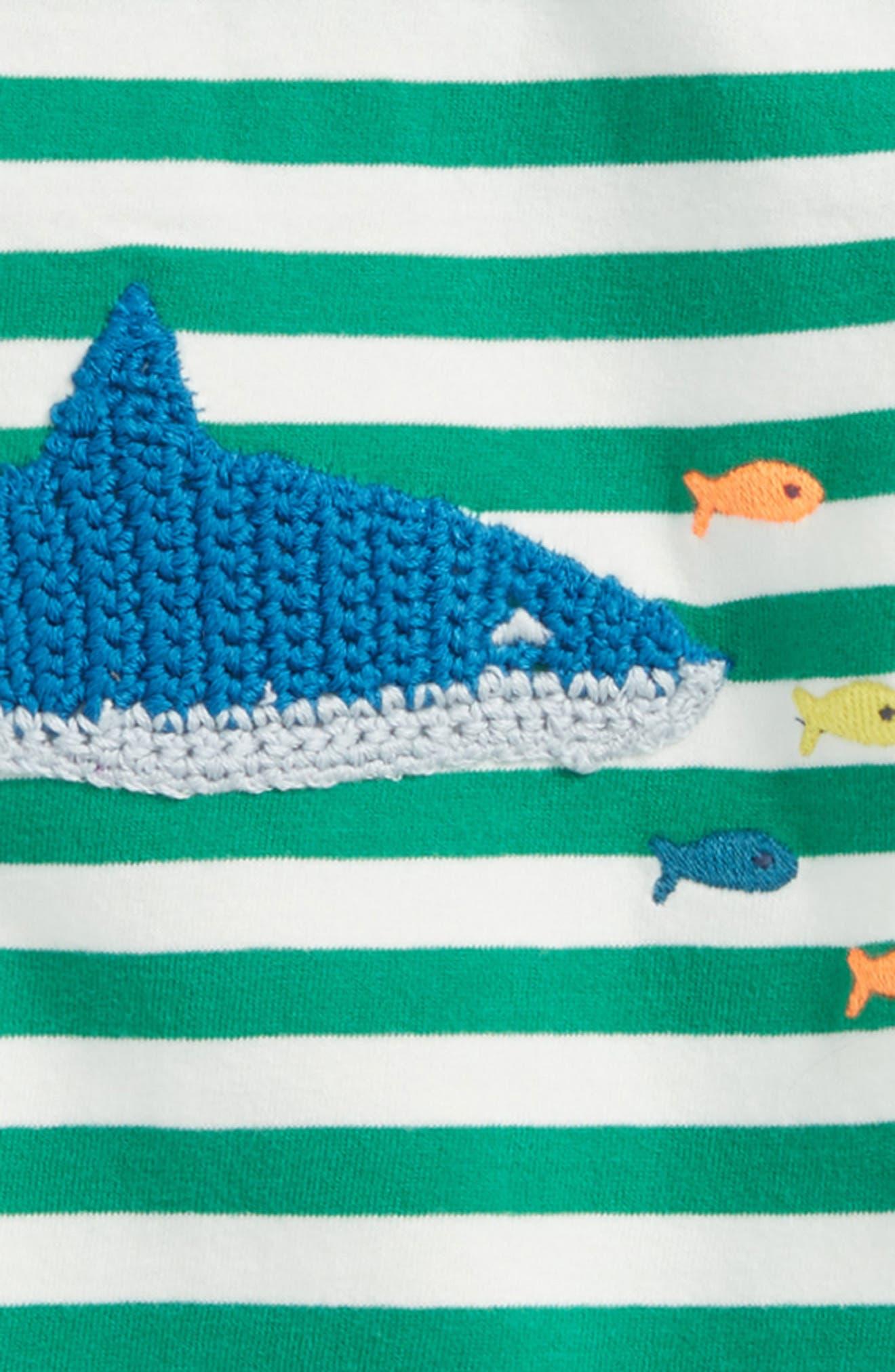 Stripy Crochet Appliqué T-Shirt,                             Alternate thumbnail 2, color,                             Ecru/ Watercress