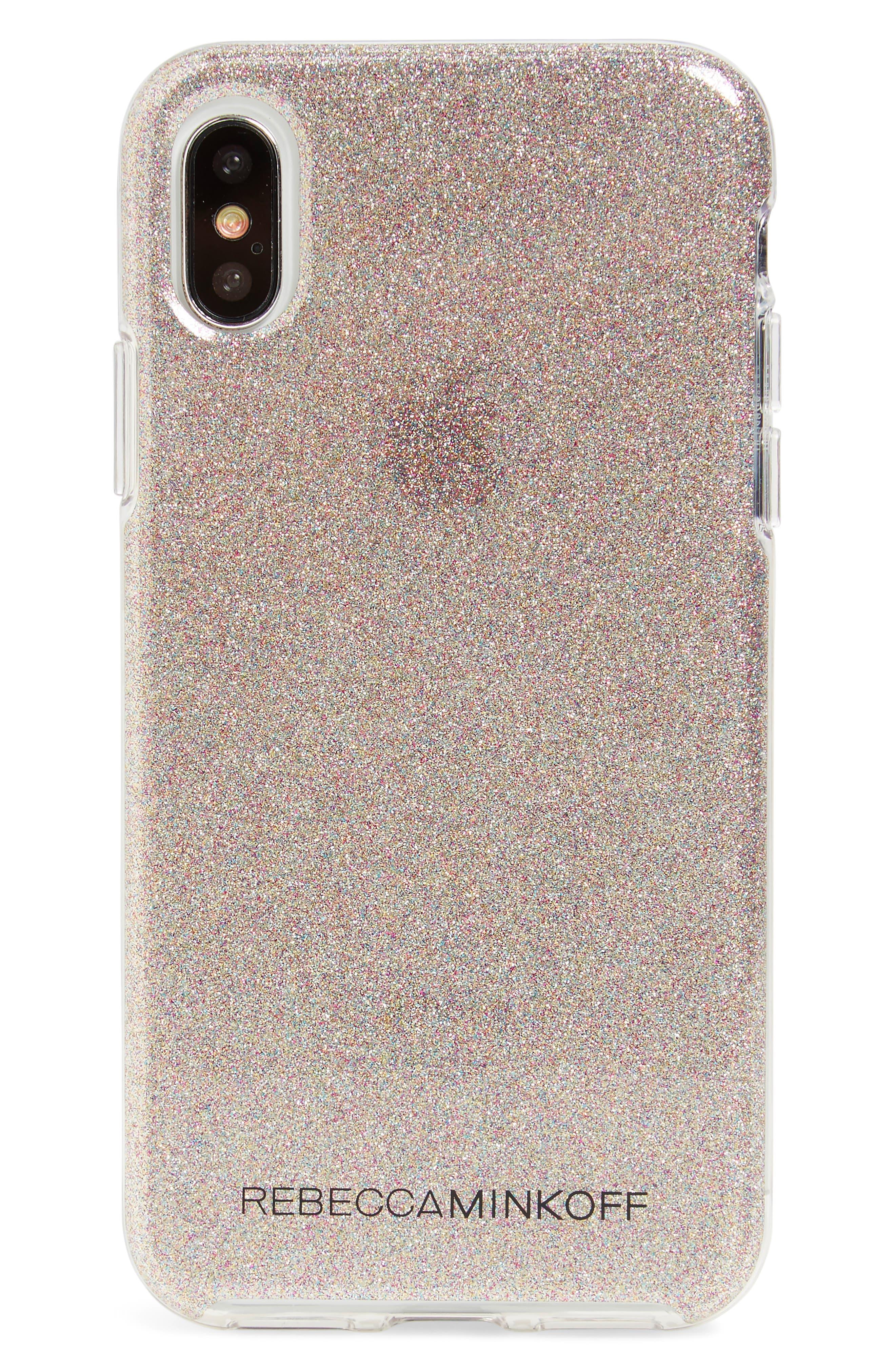 Be More Transparent iPhone X Case,                         Main,                         color, Multi Glitter
