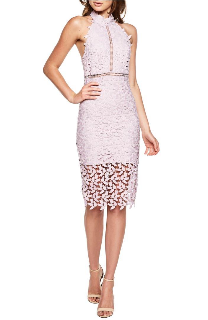 Bardot gemma halter lace sheath dress nordstrom for Great wedding guest dresses