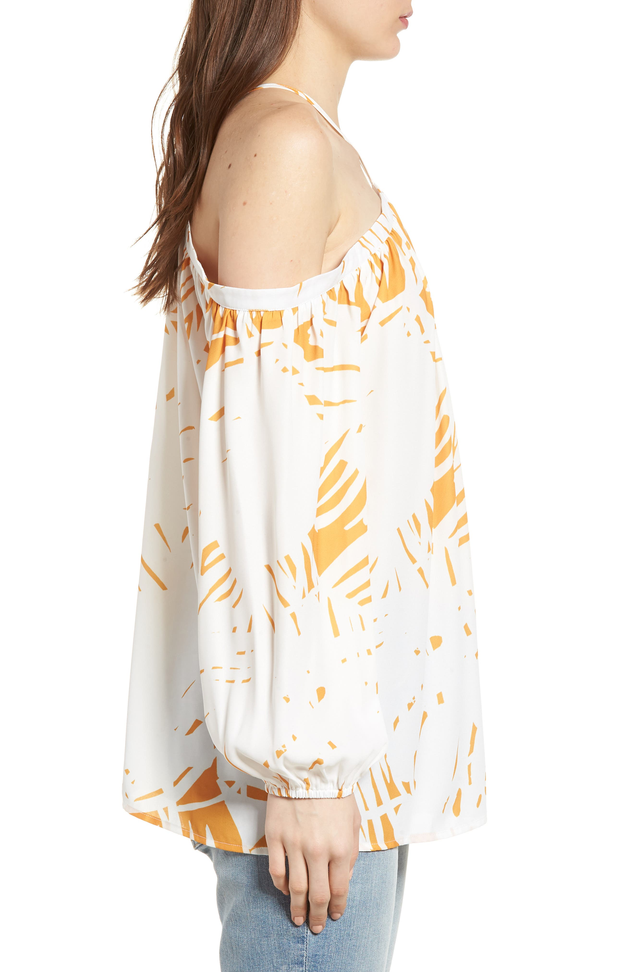 Bishop + Young Ana Palm Print Off the Shoulder Top,                             Alternate thumbnail 3, color,                             Riviera Print