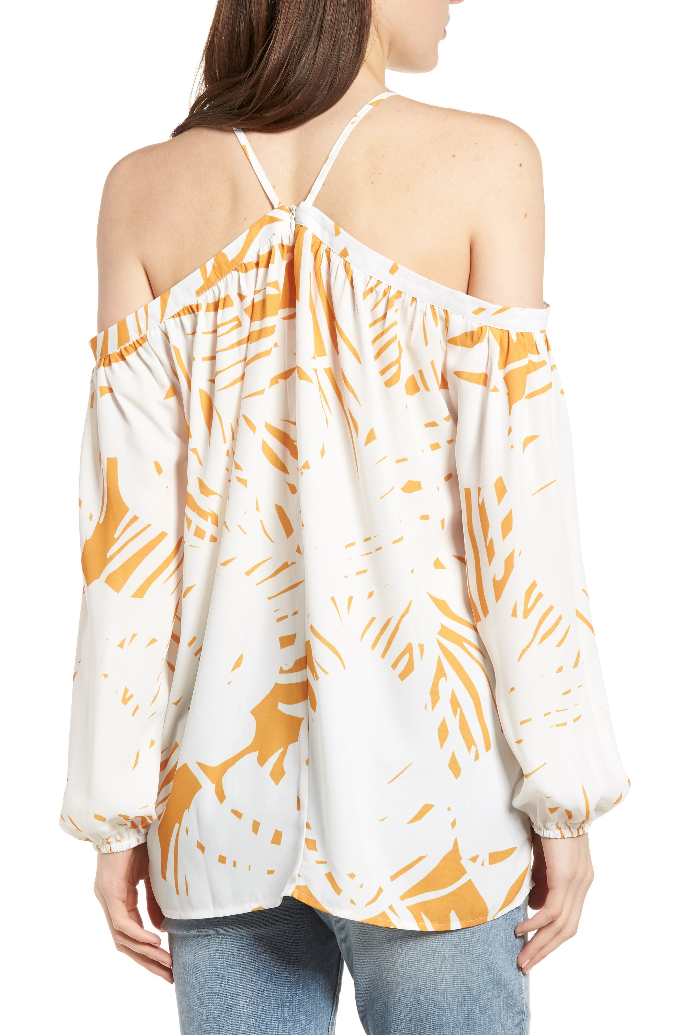 Bishop + Young Ana Palm Print Off the Shoulder Top,                             Alternate thumbnail 2, color,                             Riviera Print