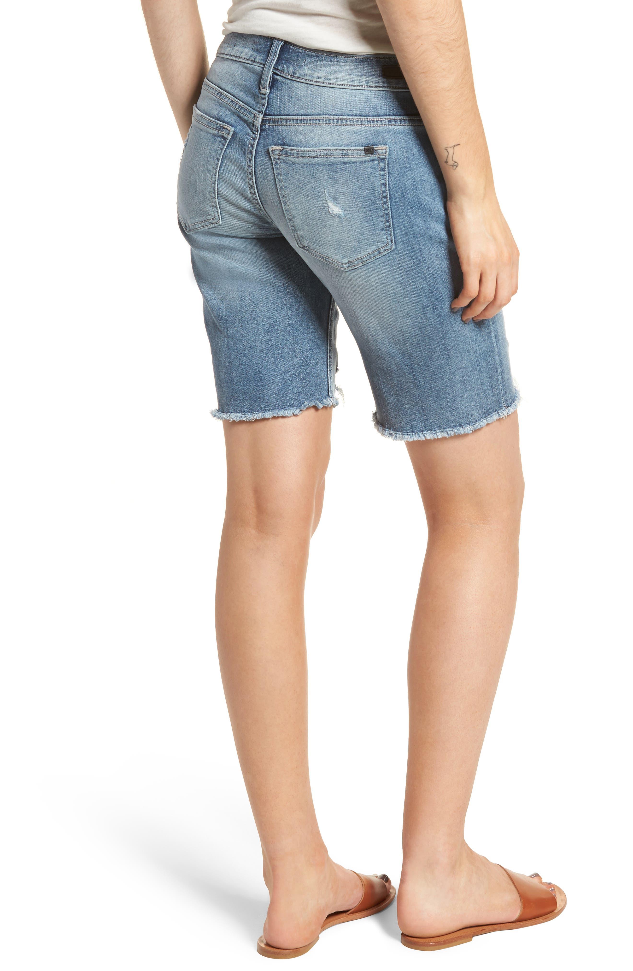 Ripped Denim Bermuda Shorts,                             Alternate thumbnail 2, color,                             Med Wash