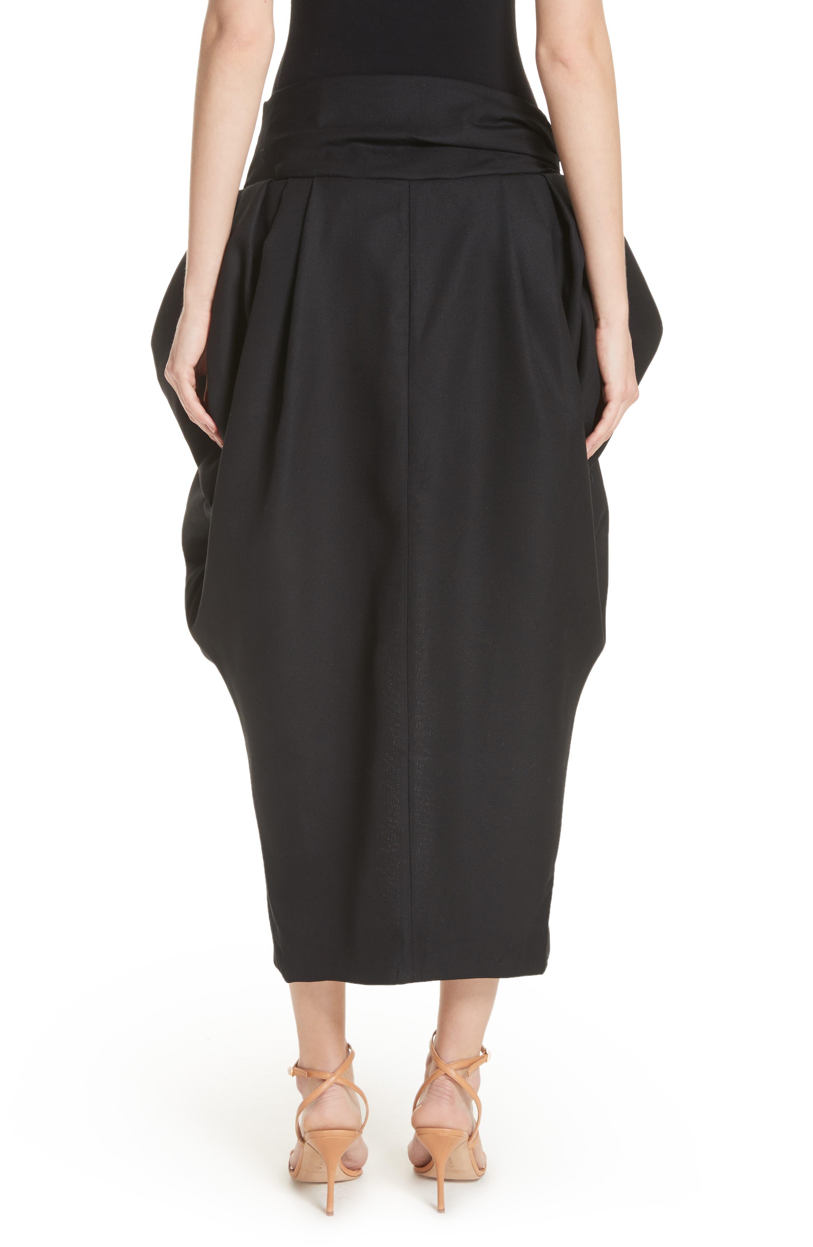 La Jupe Ilha Wool Midi Skirt,                             Alternate thumbnail 2, color,                             Black