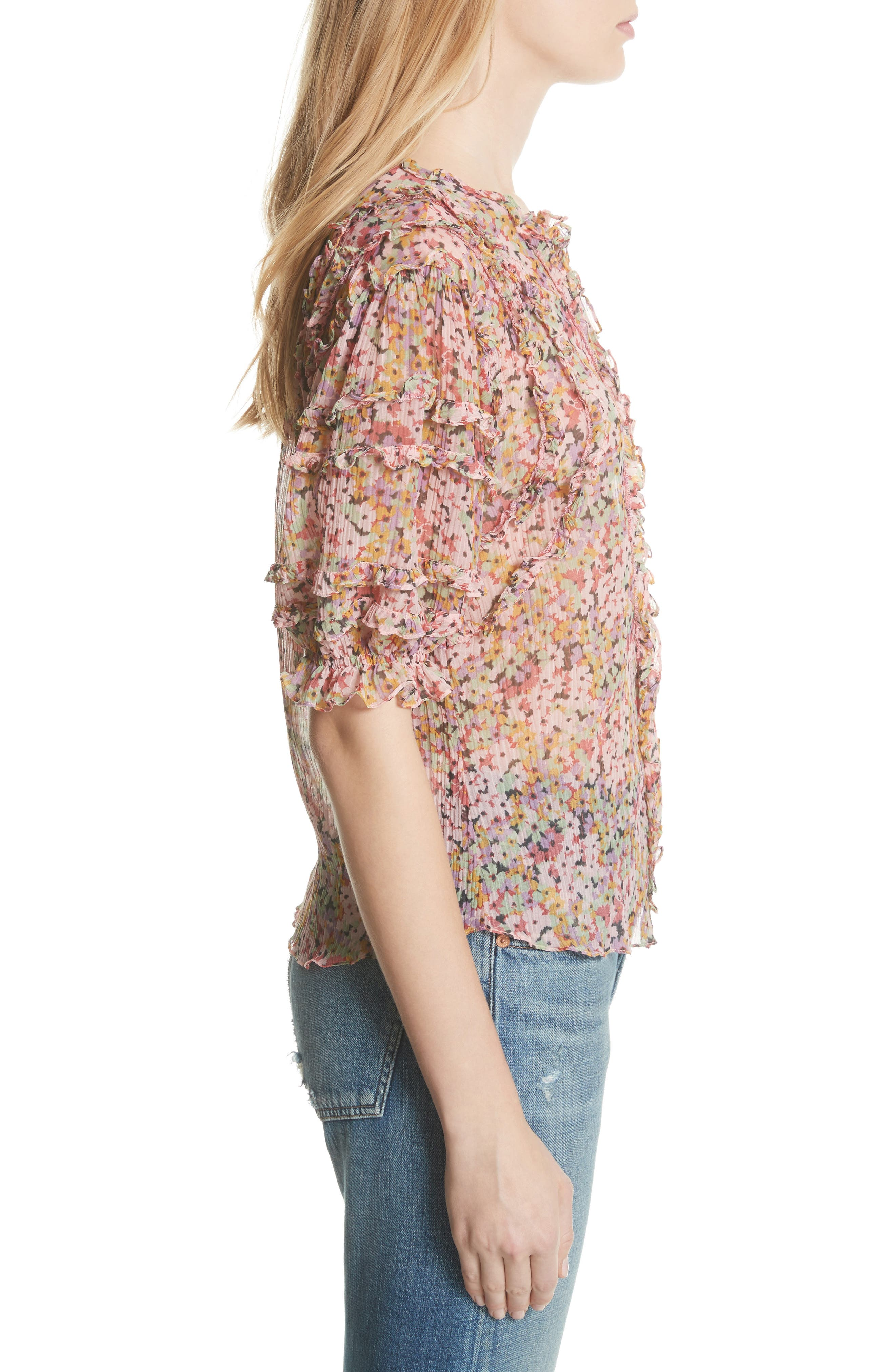 Margo Ruffle Floral Top,                             Alternate thumbnail 3, color,                             Multi Combo