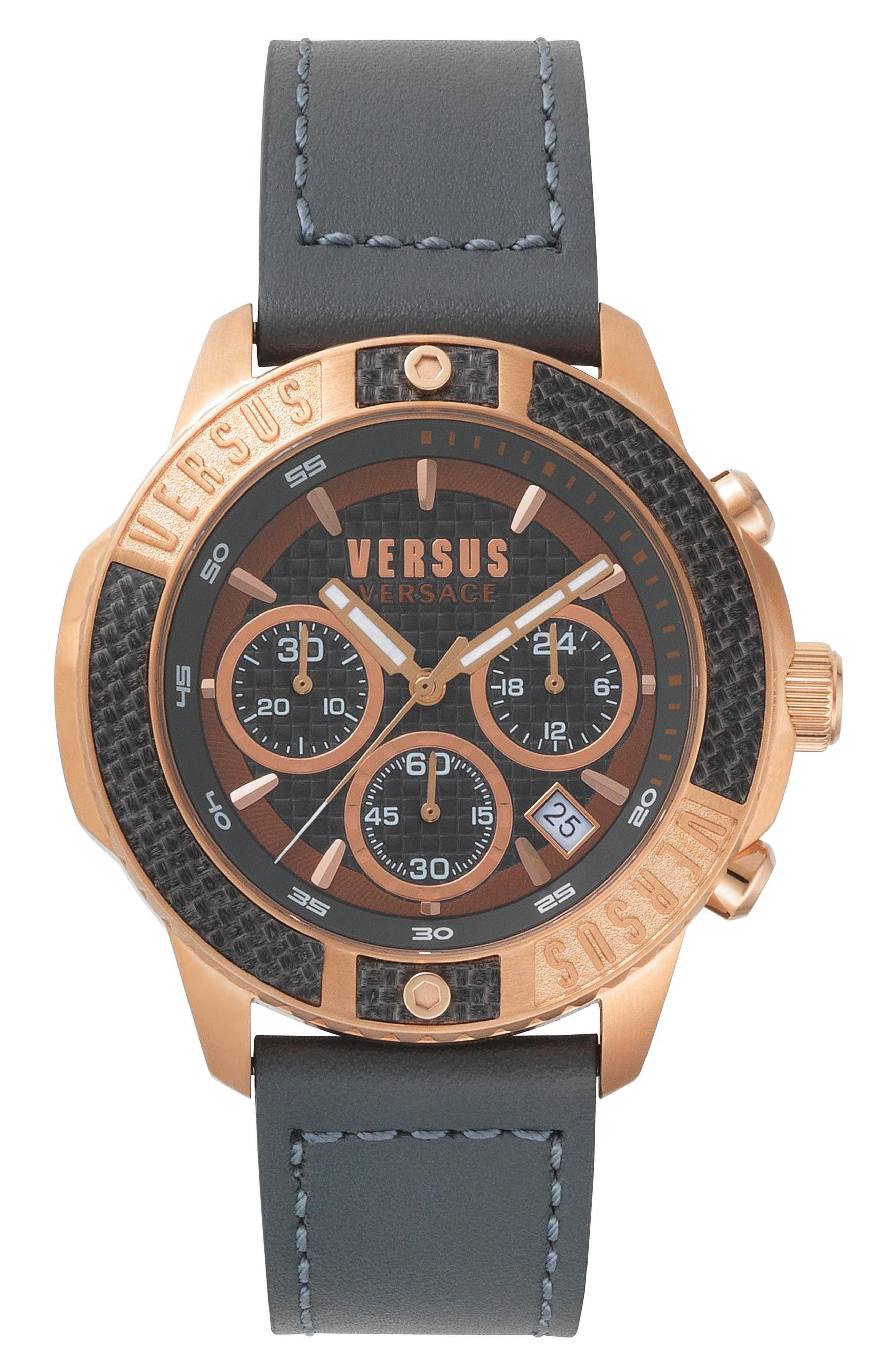 VERSUS by Versace Admiralty Chronograph Leather Strap Watch, 44mm,                         Main,                         color, Grey/ Rose Gold