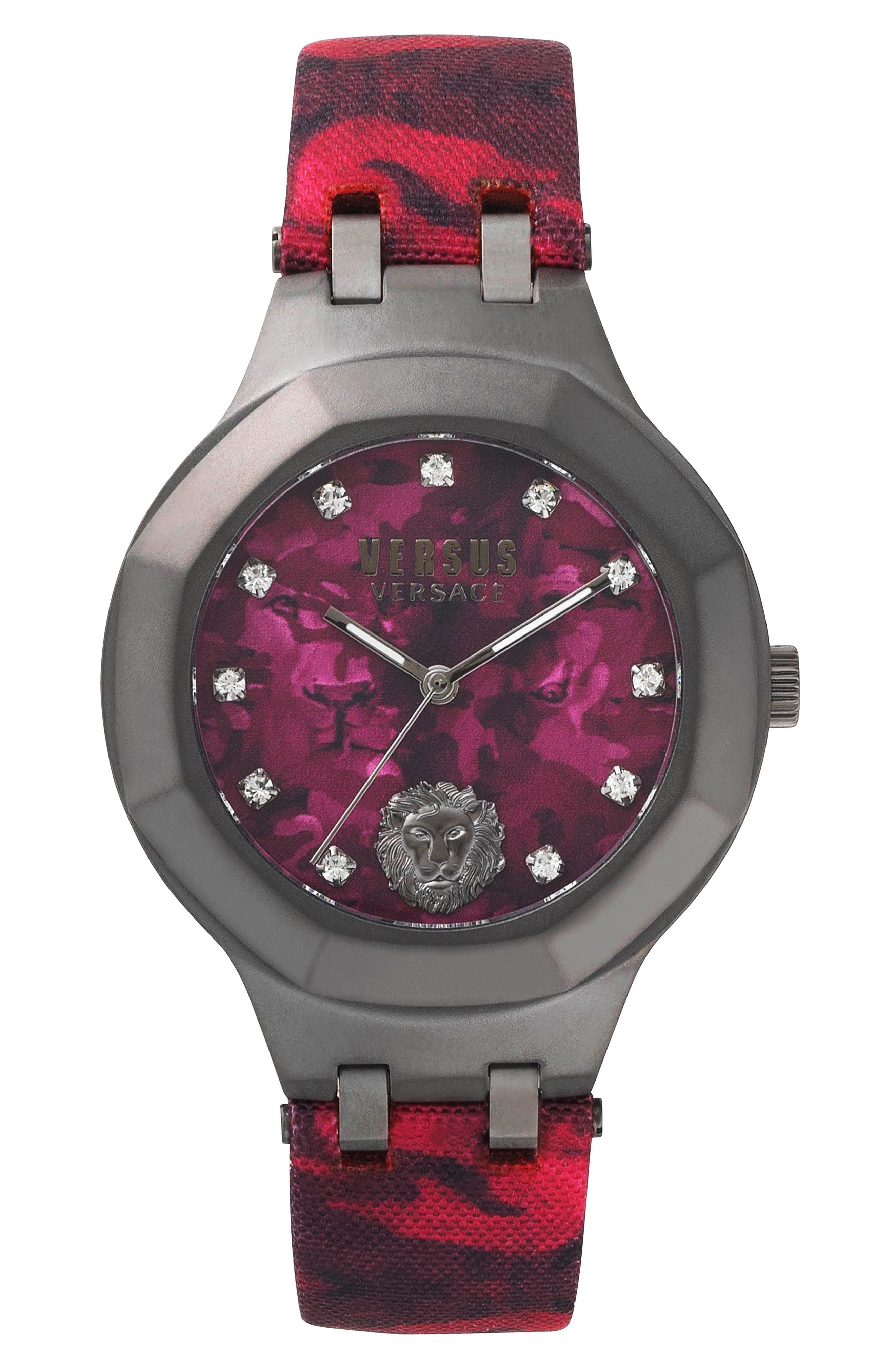 Versus by Versace Laguna City Leather Strap Watch, 40mm,                             Main thumbnail 1, color,                             Red/ Gunmetal