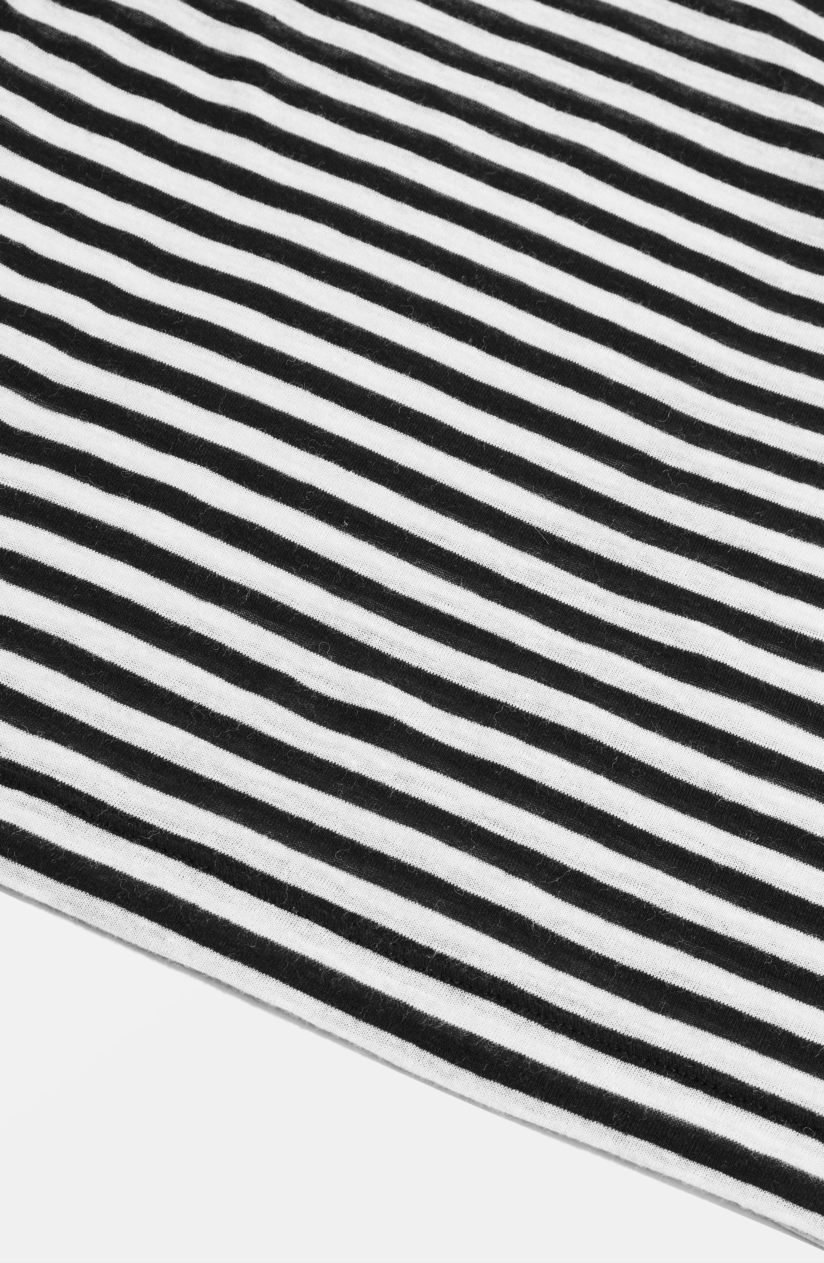 Topshop Stripe Slub Shirt,                             Alternate thumbnail 4, color,                             Black Multi
