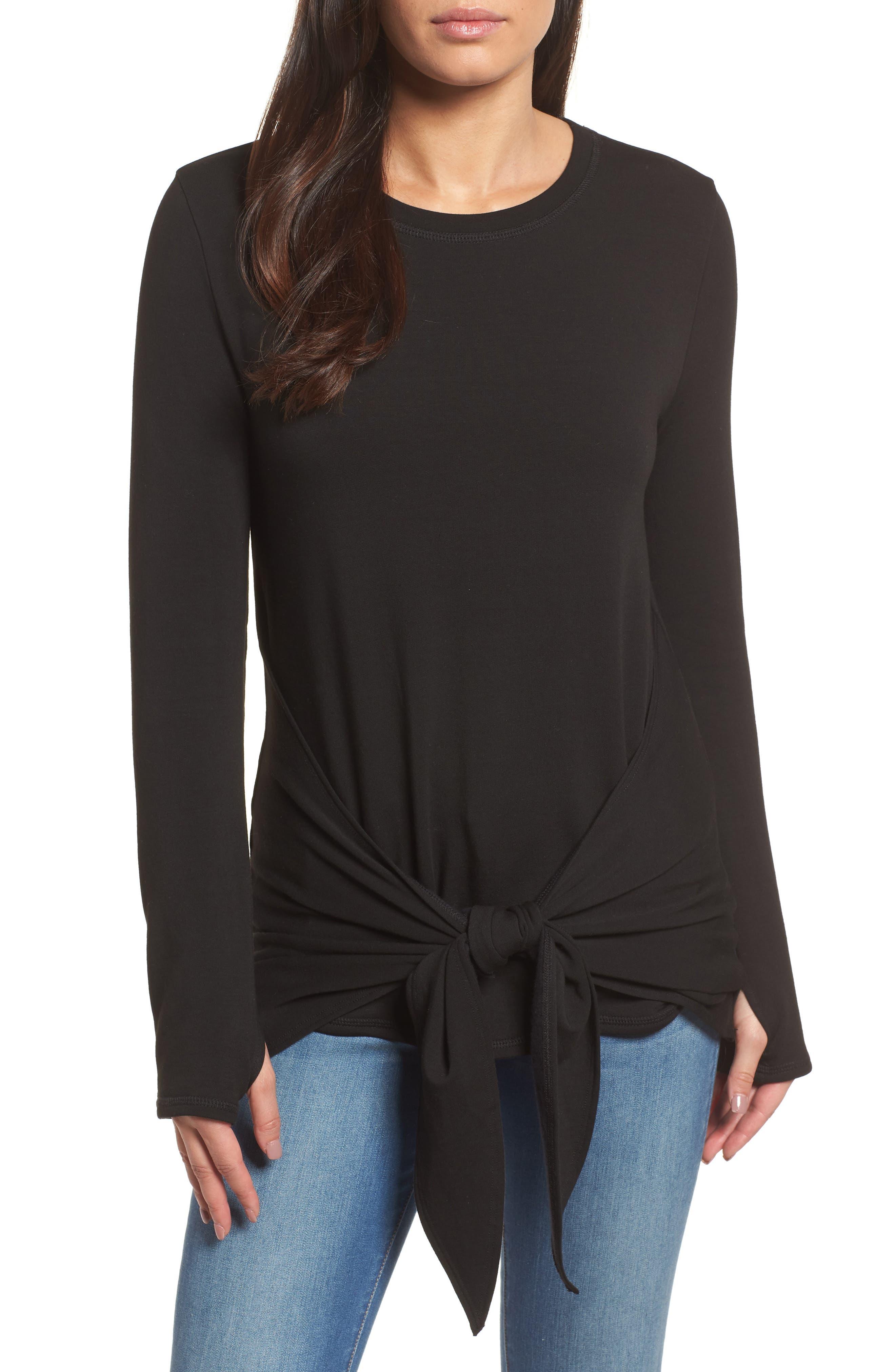 Off-Duty Tie Front Sweatshirt,                         Main,                         color, Black
