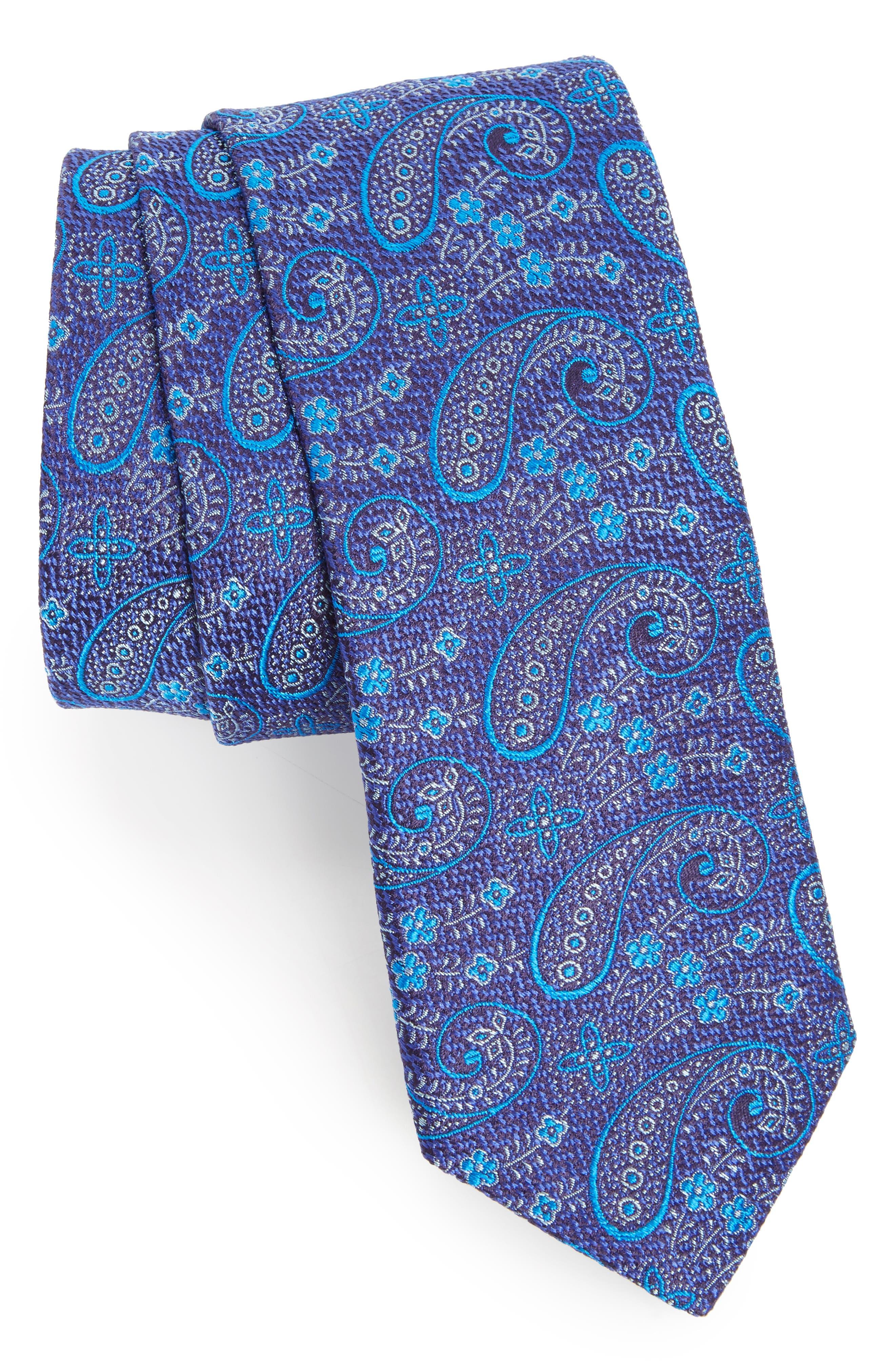 Paisley Silk Tie,                             Main thumbnail 1, color,                             Navy