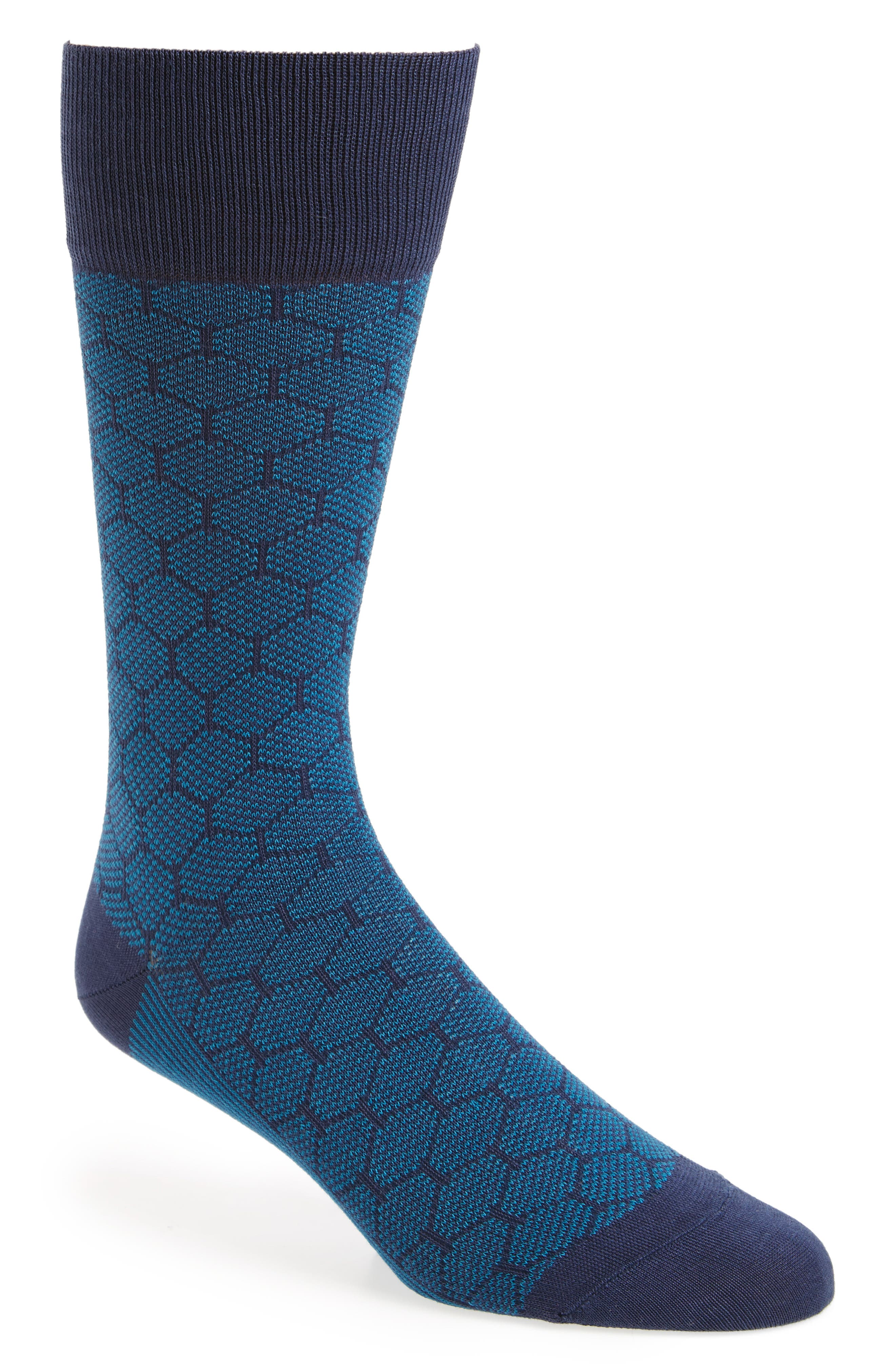 Mercerized Honeycomb Socks,                             Main thumbnail 1, color,                             Blue/ Navy