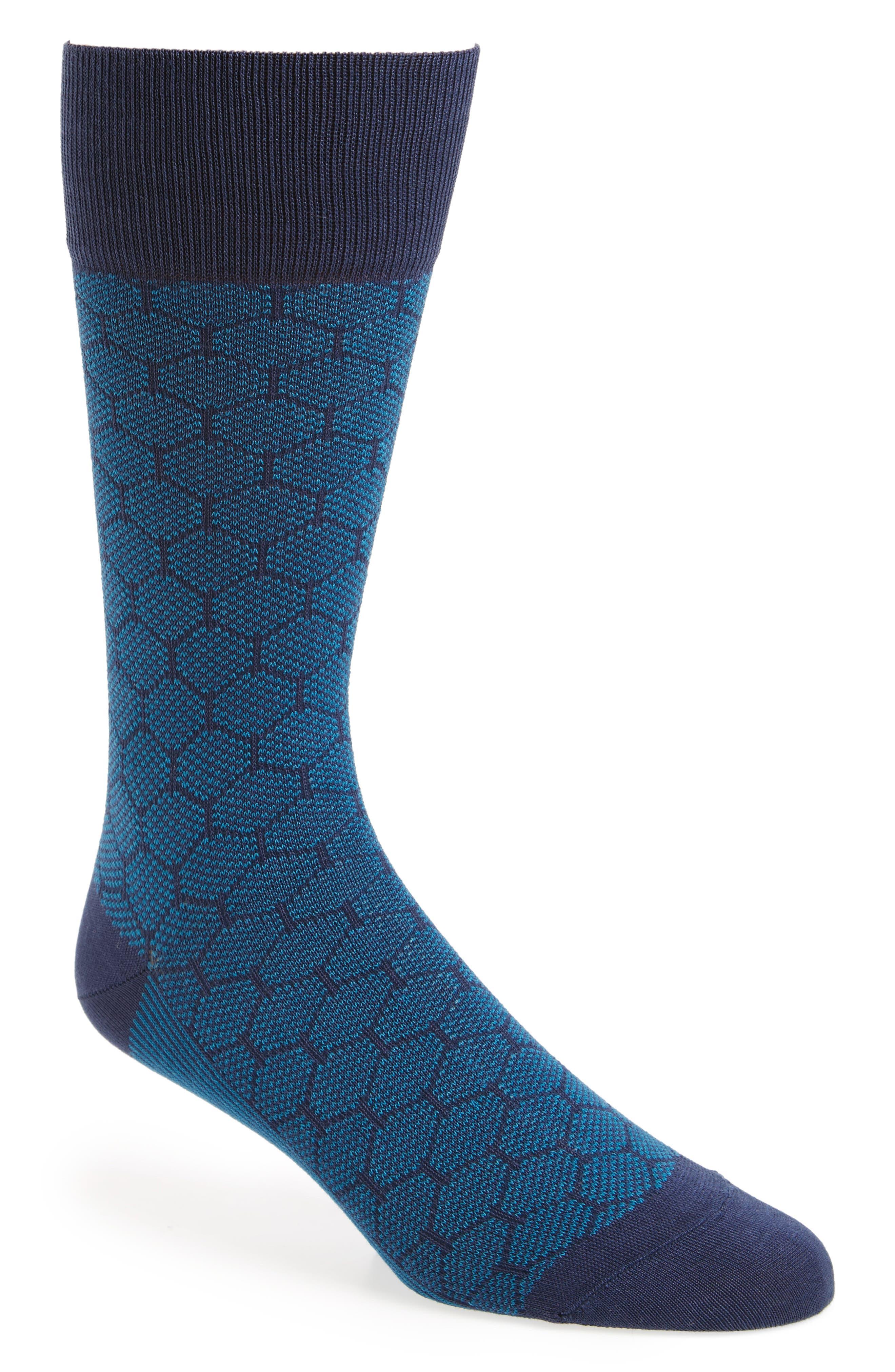 Mercerized Honeycomb Socks,                         Main,                         color, Blue/ Navy