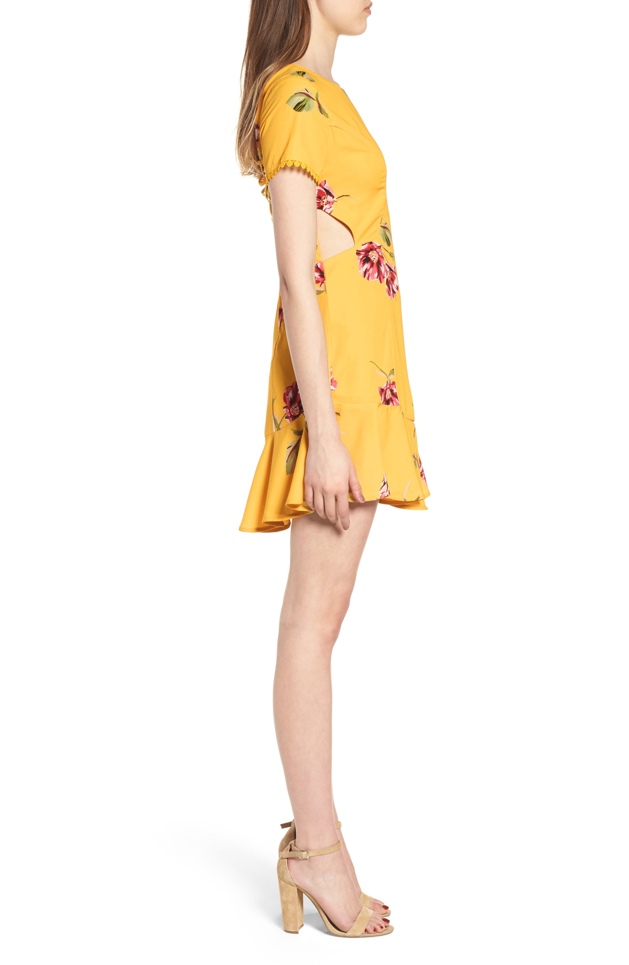 Cutout Fit & Flare Dress,                             Alternate thumbnail 3, color,                             Yellow Floral