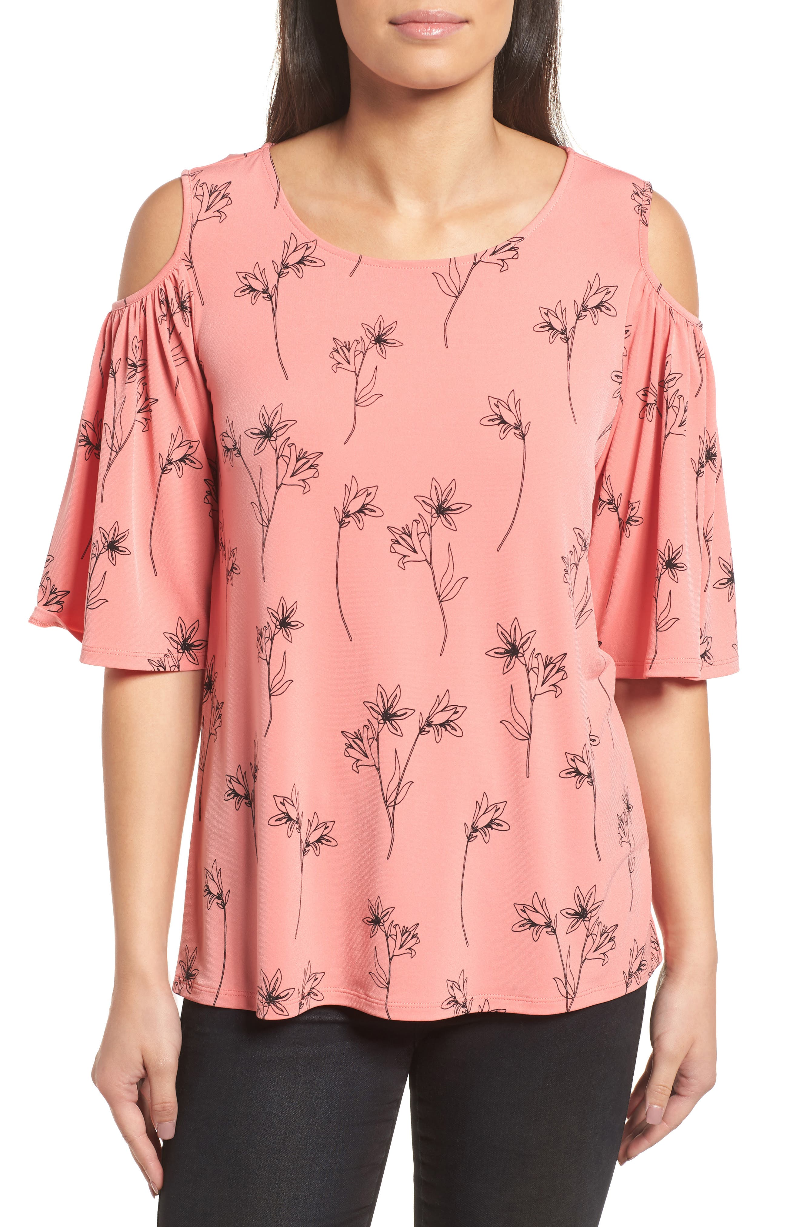 Floral Outlines Cold Shoulder Top,                             Main thumbnail 1, color,                             892-Sweet Papaya