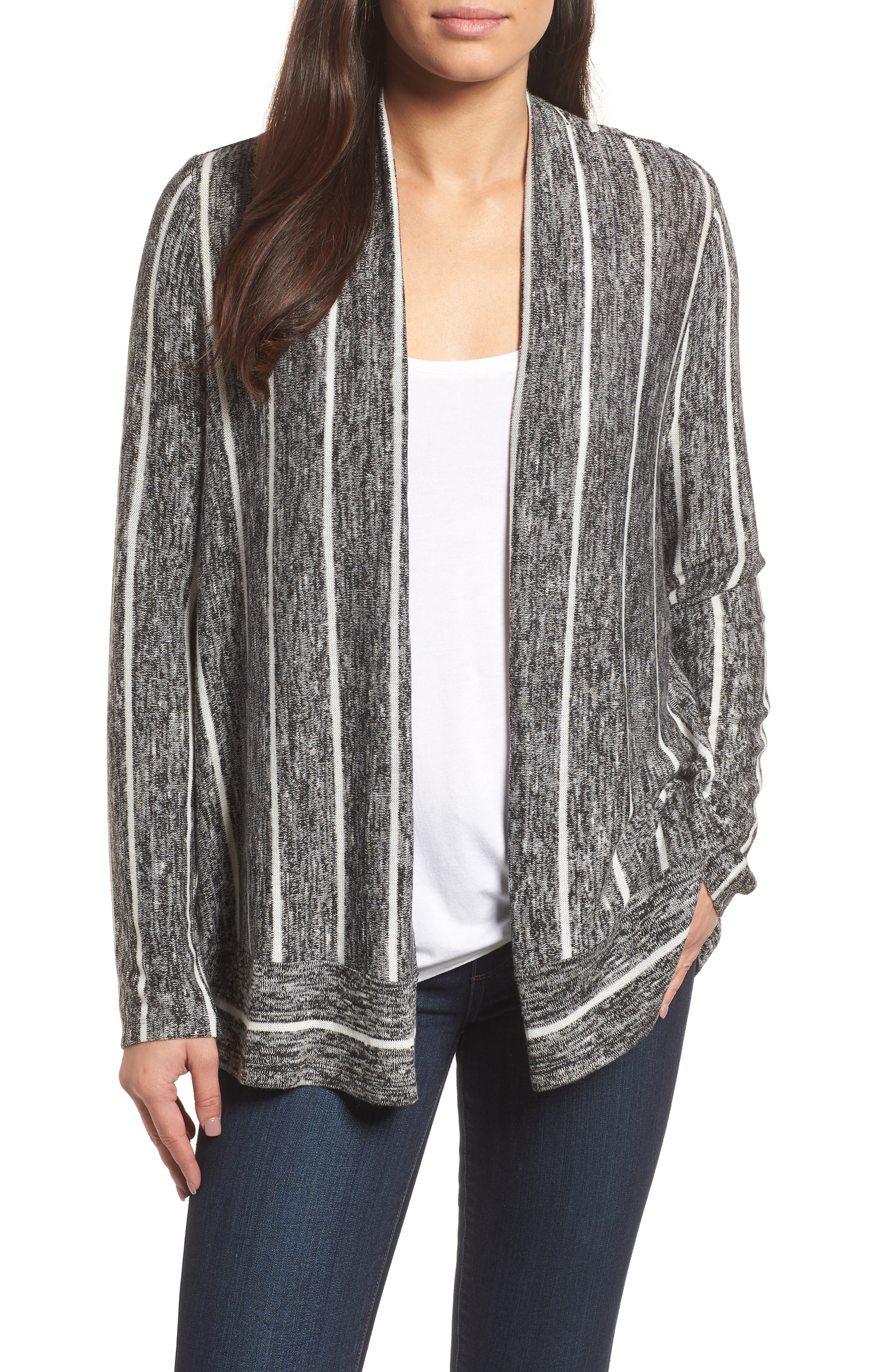 Marled Stripe Open Front Cardigan,                         Main,                         color, 060-Rich Black