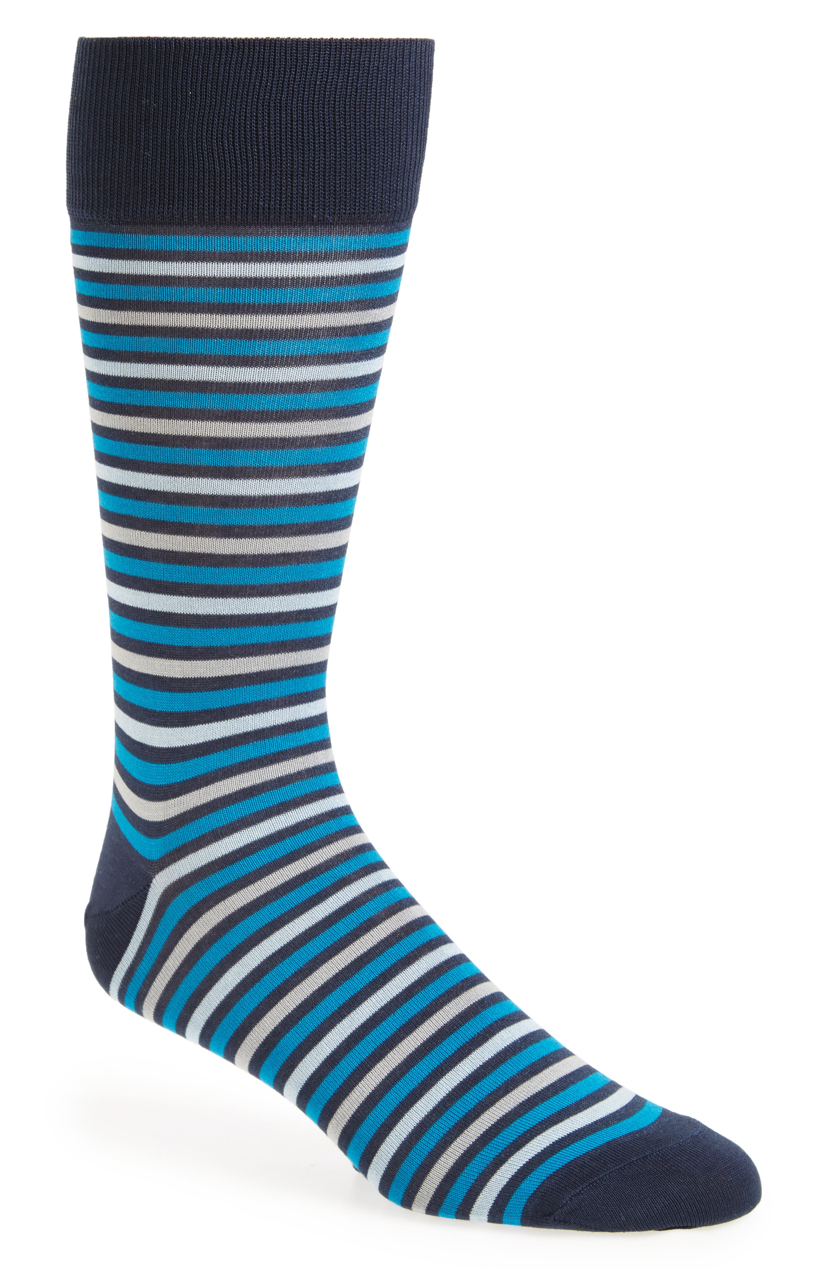 Mercerized Fine Rugby Stripe Socks,                             Main thumbnail 1, color,                             Navy/ Grey