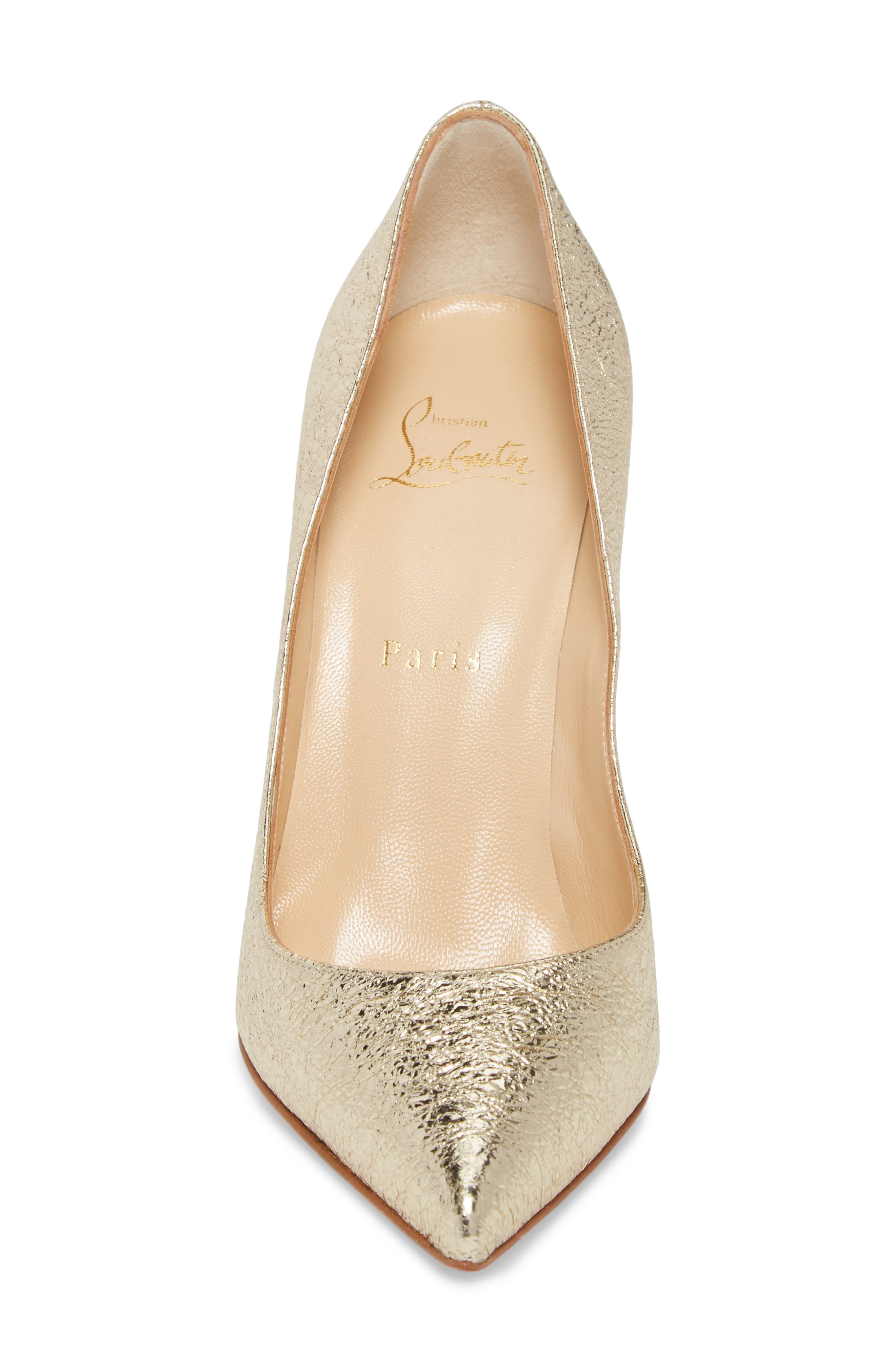 Pigalle Follies Pointy Toe Pump,                             Alternate thumbnail 4, color,                             Platine