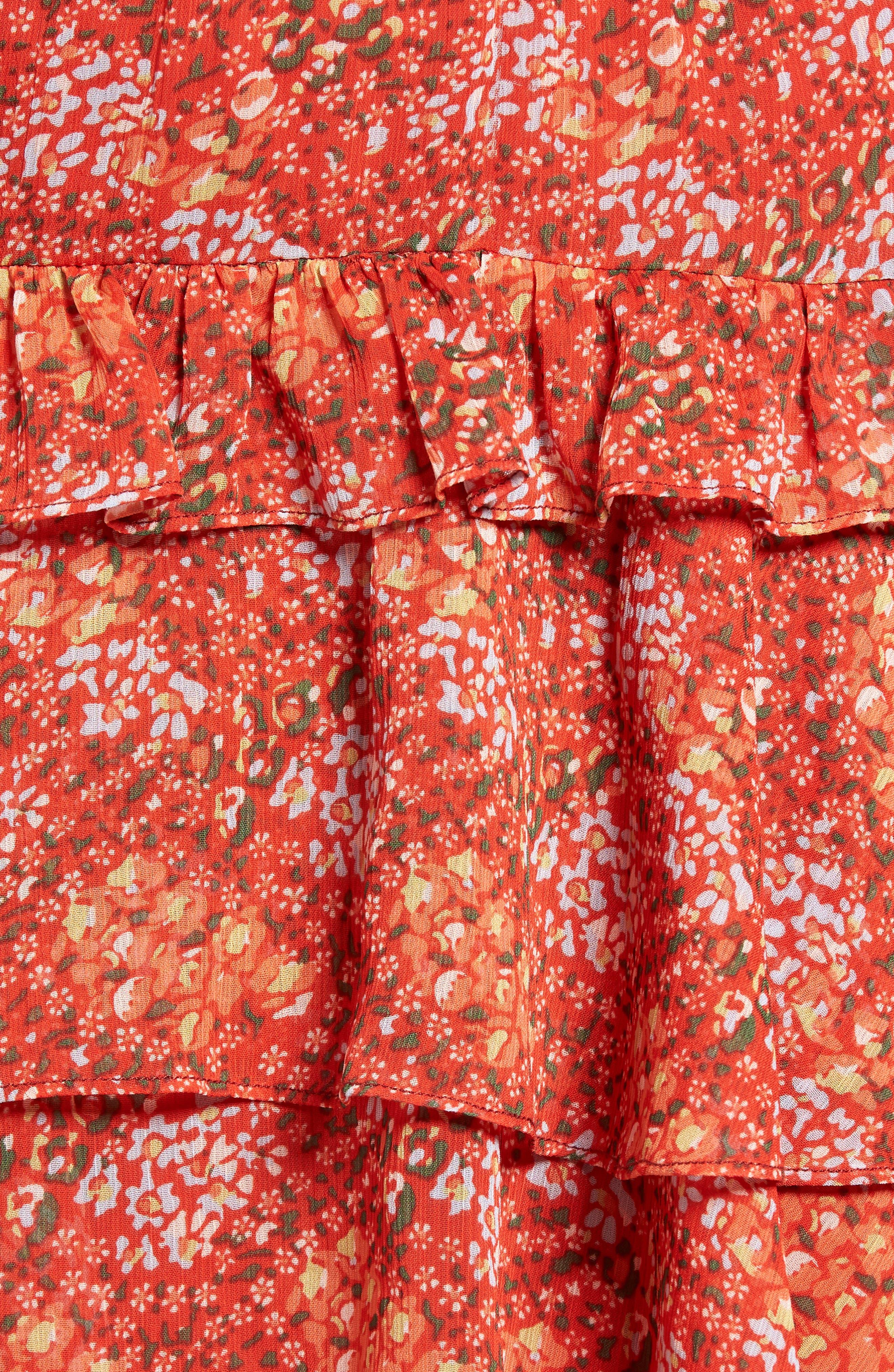 Phoebe Ruffle Tier Skirt,                             Alternate thumbnail 5, color,                             Red Multi