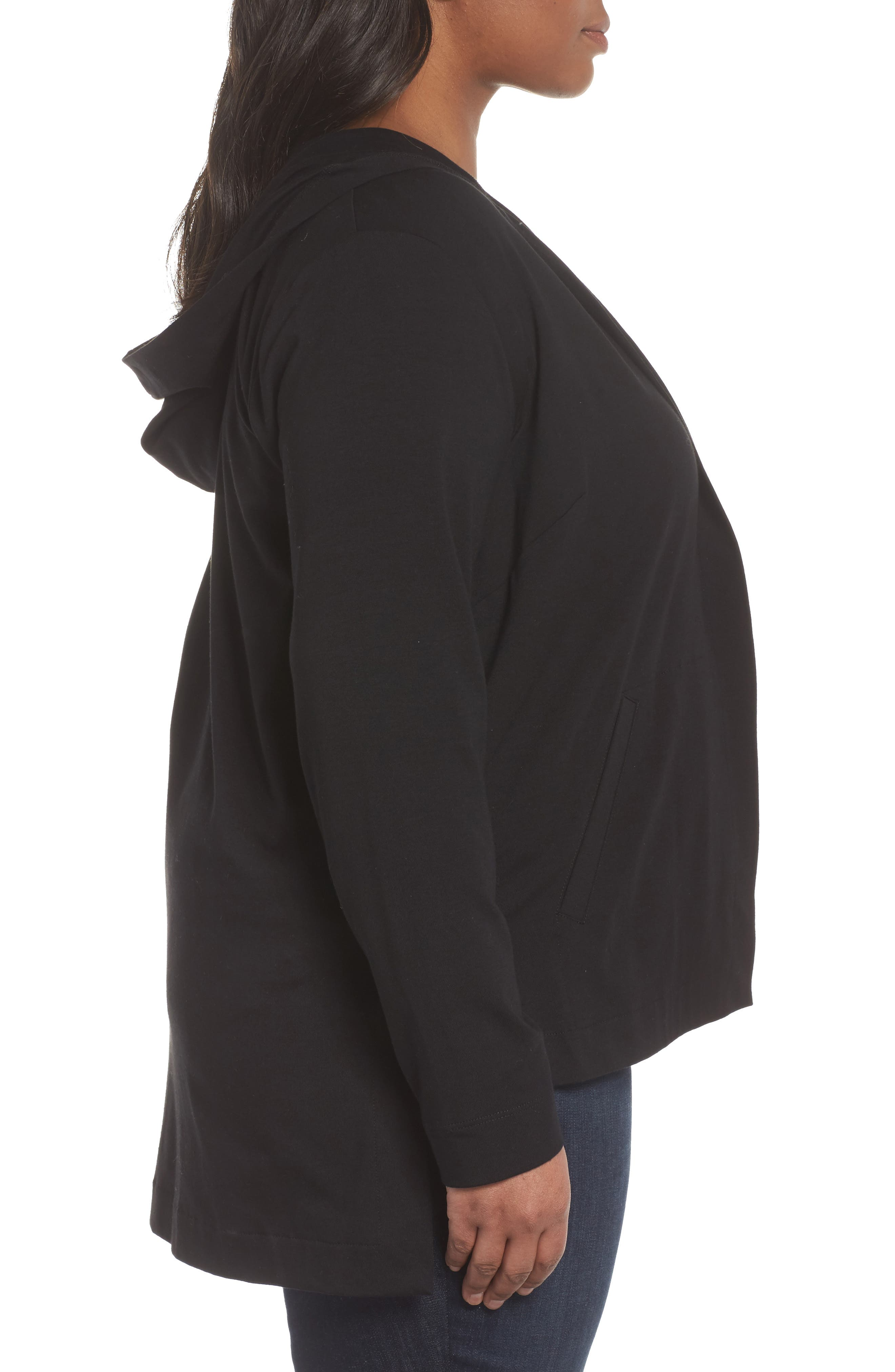 Stretch Organic Cotton Hooded Cardigan,                             Alternate thumbnail 3, color,                             Black