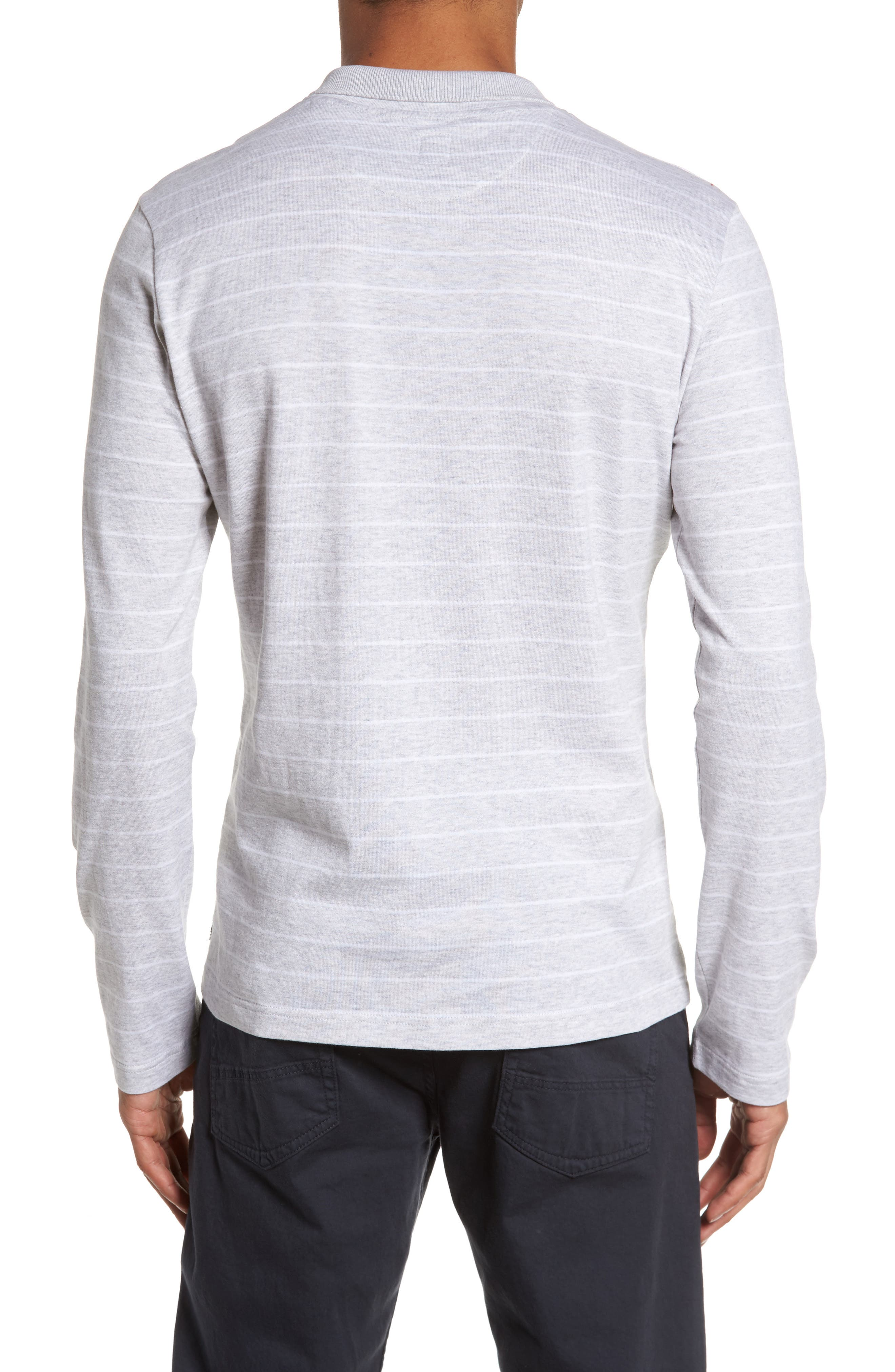 Stripe Crewneck Polo Shirt,                             Alternate thumbnail 2, color,                             Light Grey
