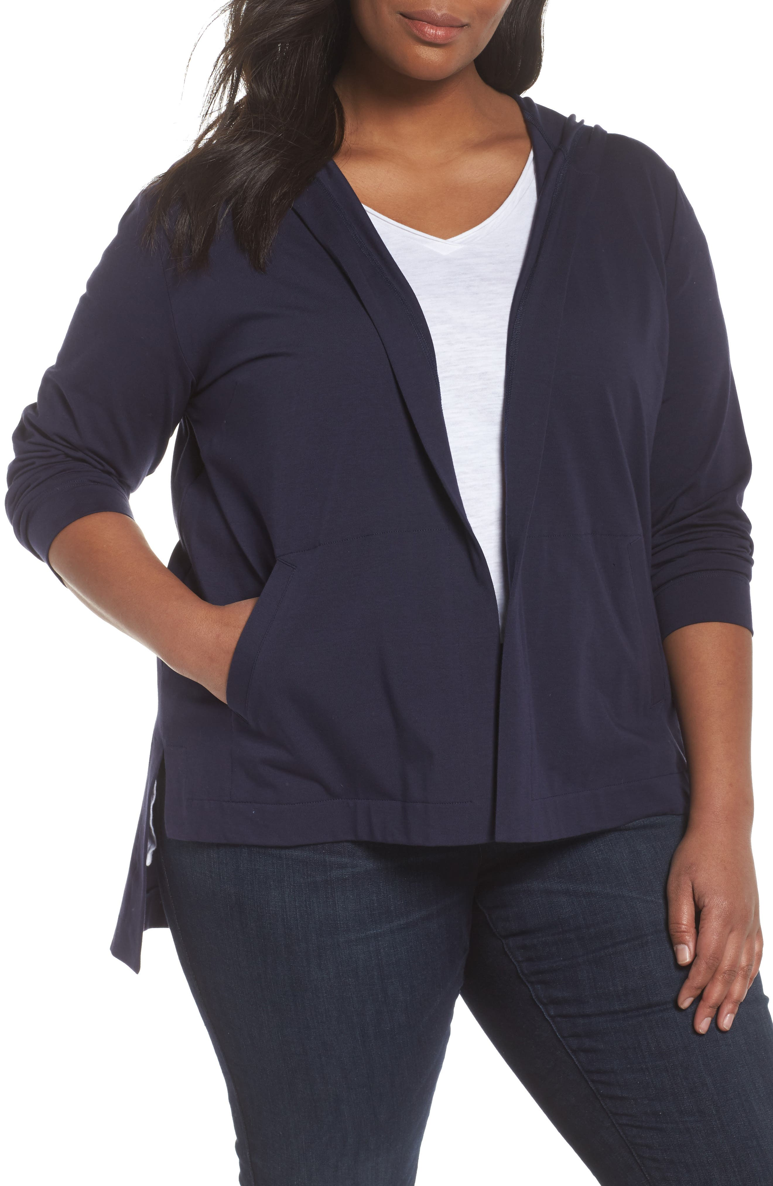 Eileen Fisher Stretch Organic Cotton Hooded Cardigan (Plus Size)