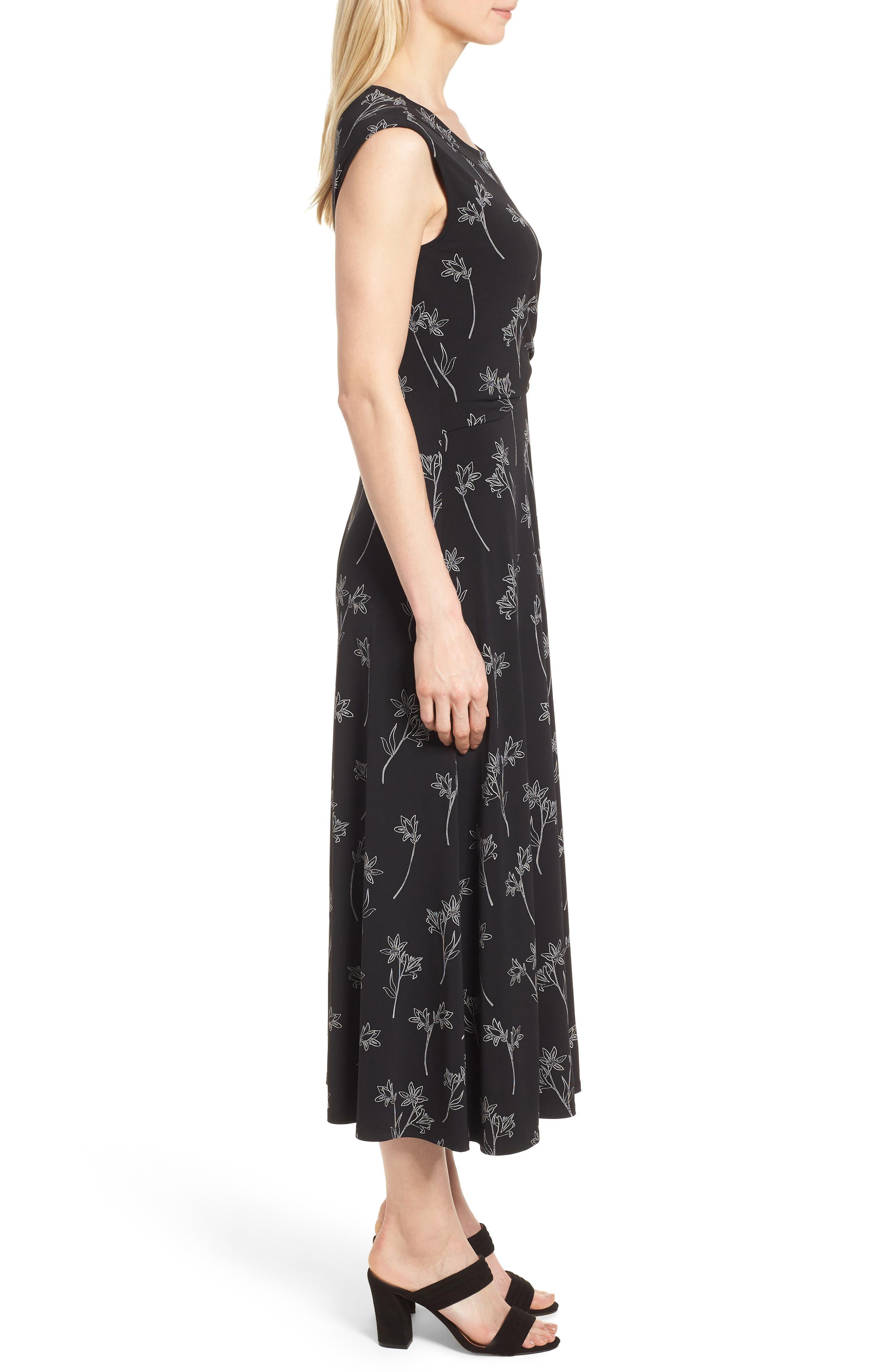 Floral Outlines Knot Front Maxi Dress,                             Alternate thumbnail 3, color,                             060-Rich Black