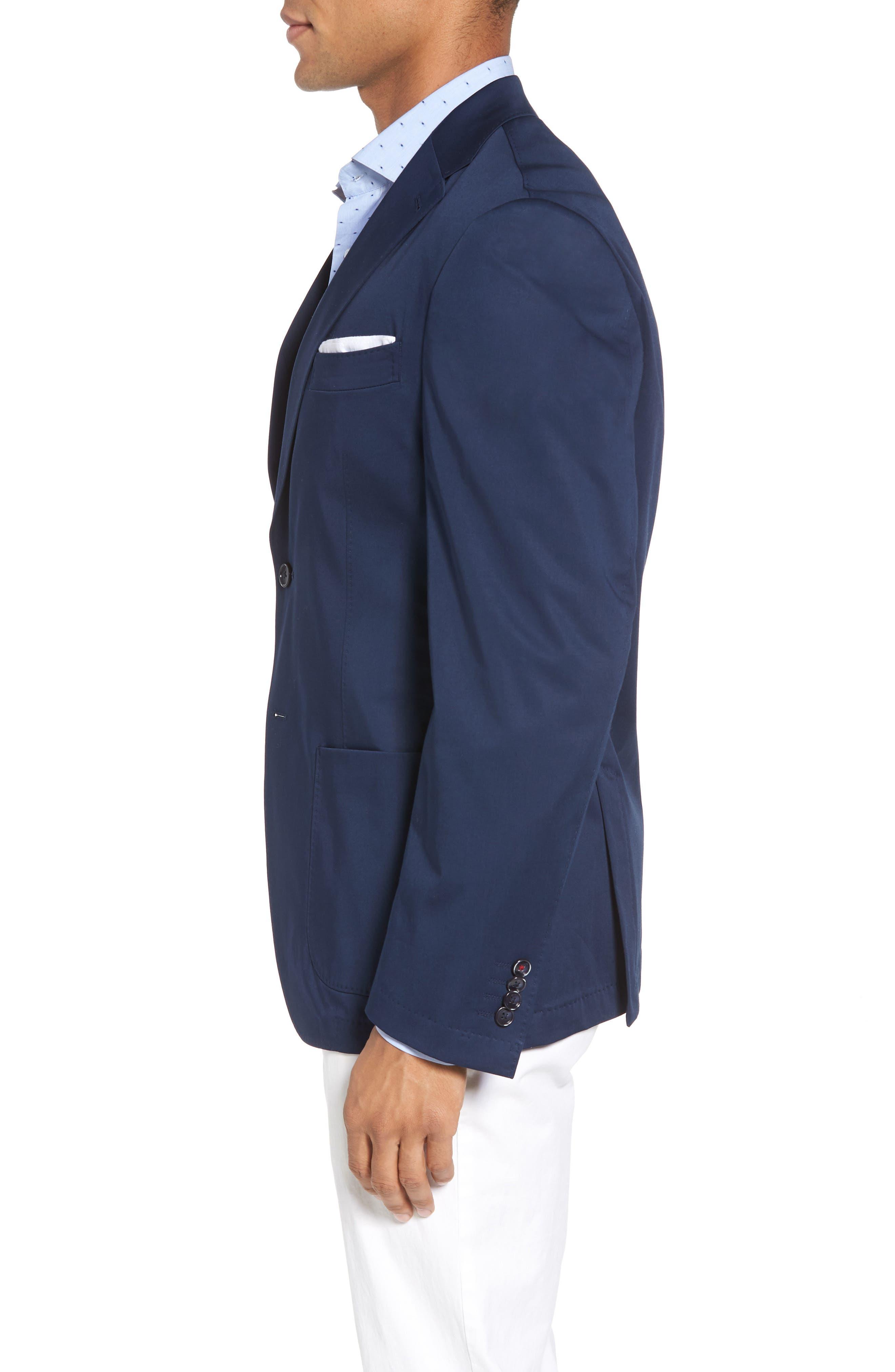 Trent Trim Fit Stretch Cotton Blazer,                             Alternate thumbnail 3, color,                             Navy