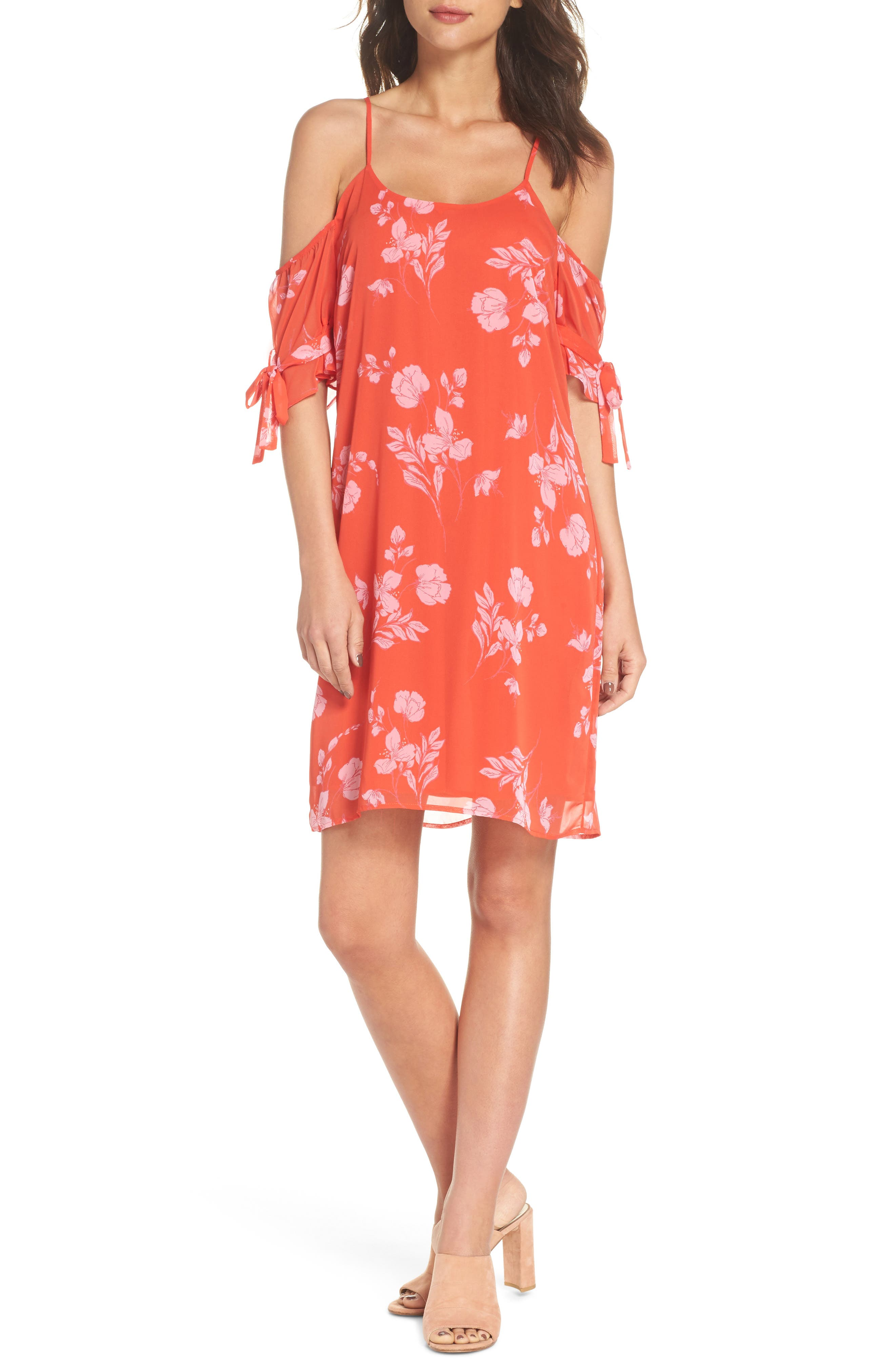 Cold Shoulder Dress,                         Main,                         color, Coral Multi