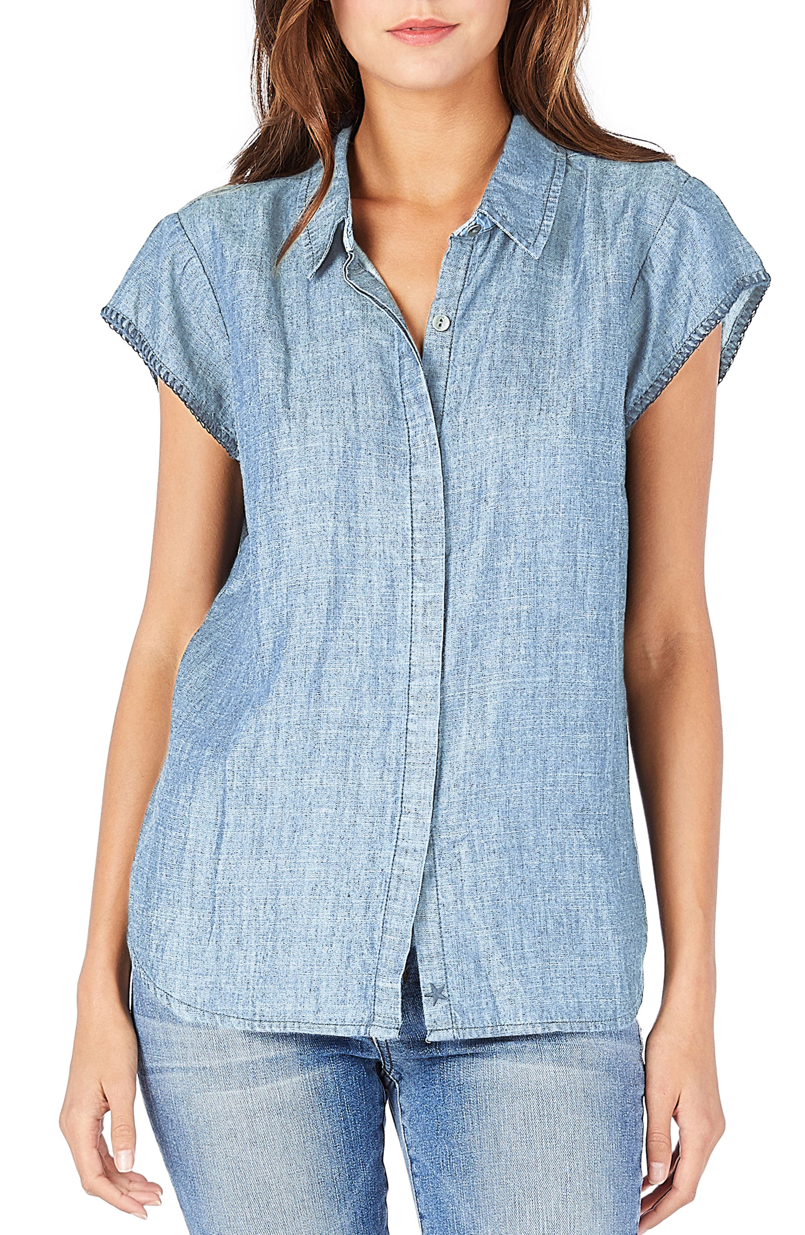 Back Cutout Chambray Top,                         Main,                         color, Stripe