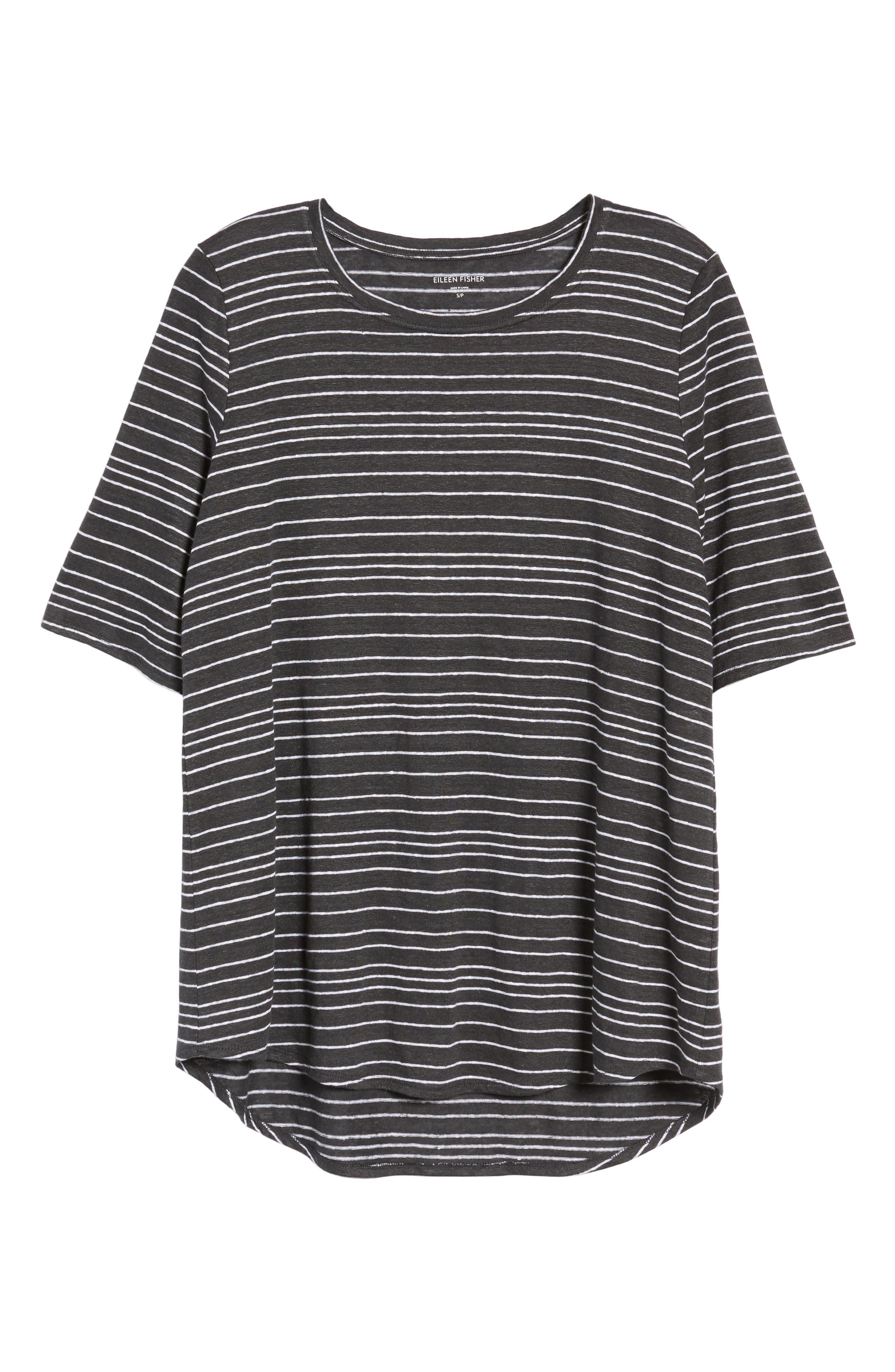 Stripe Organic Linen Top,                             Alternate thumbnail 7, color,                             Graphite