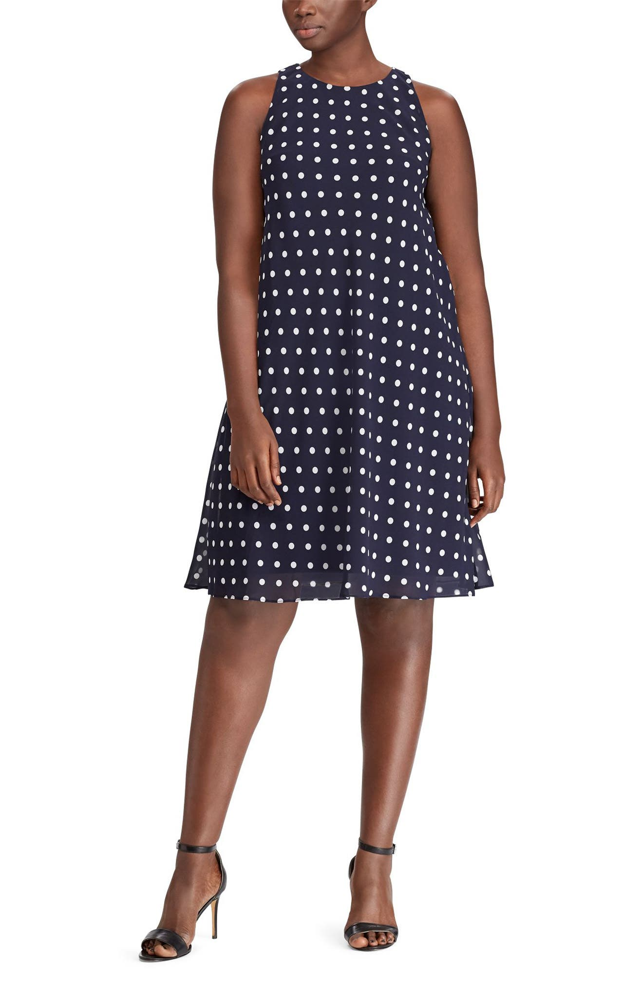 Alternate Image 1 Selected - Lauren Ralph Lauren Polka Dot Dress (Plus Size)