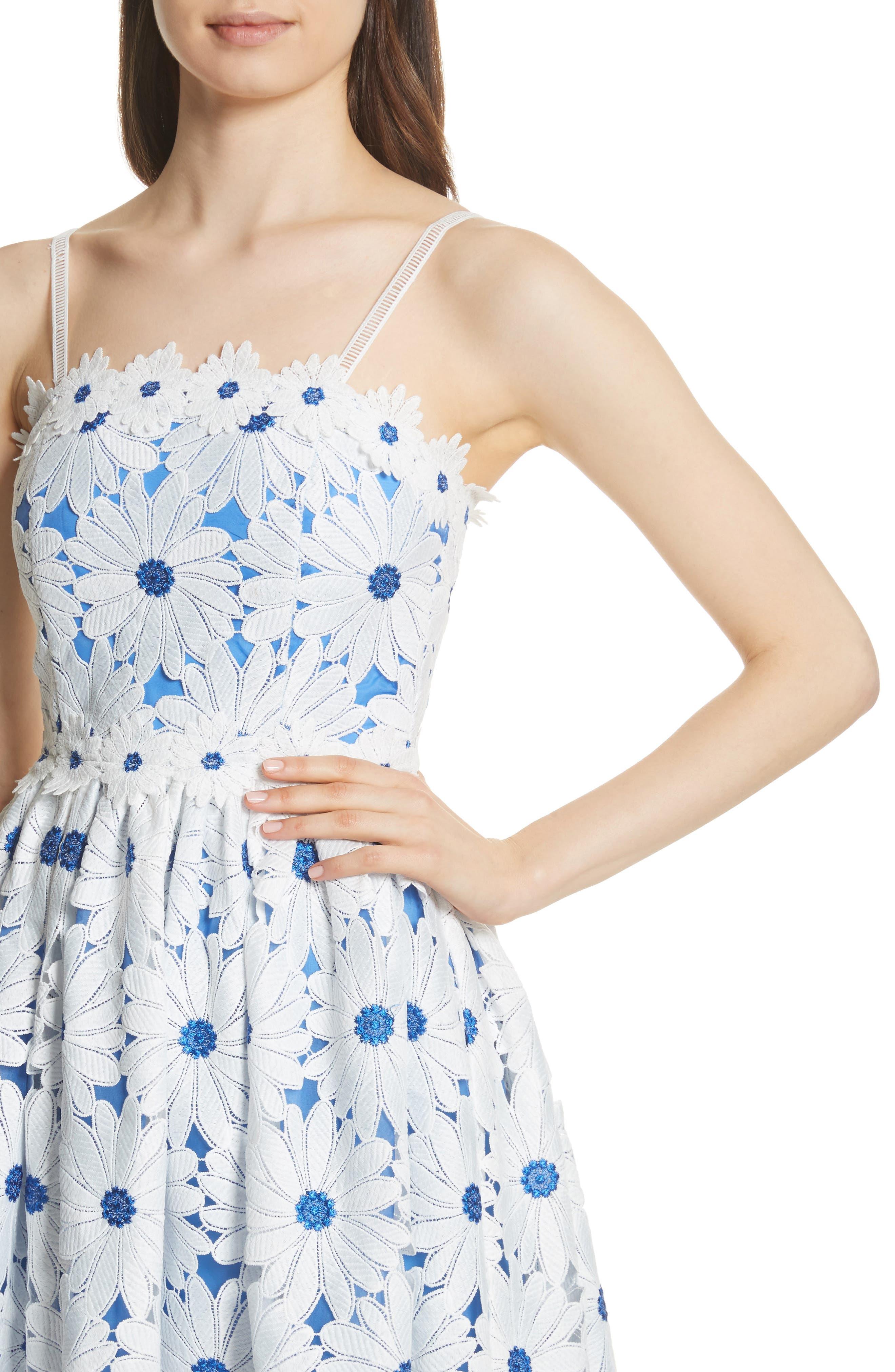 Vandy Lace Minidress,                             Alternate thumbnail 4, color,                             White/ Blue