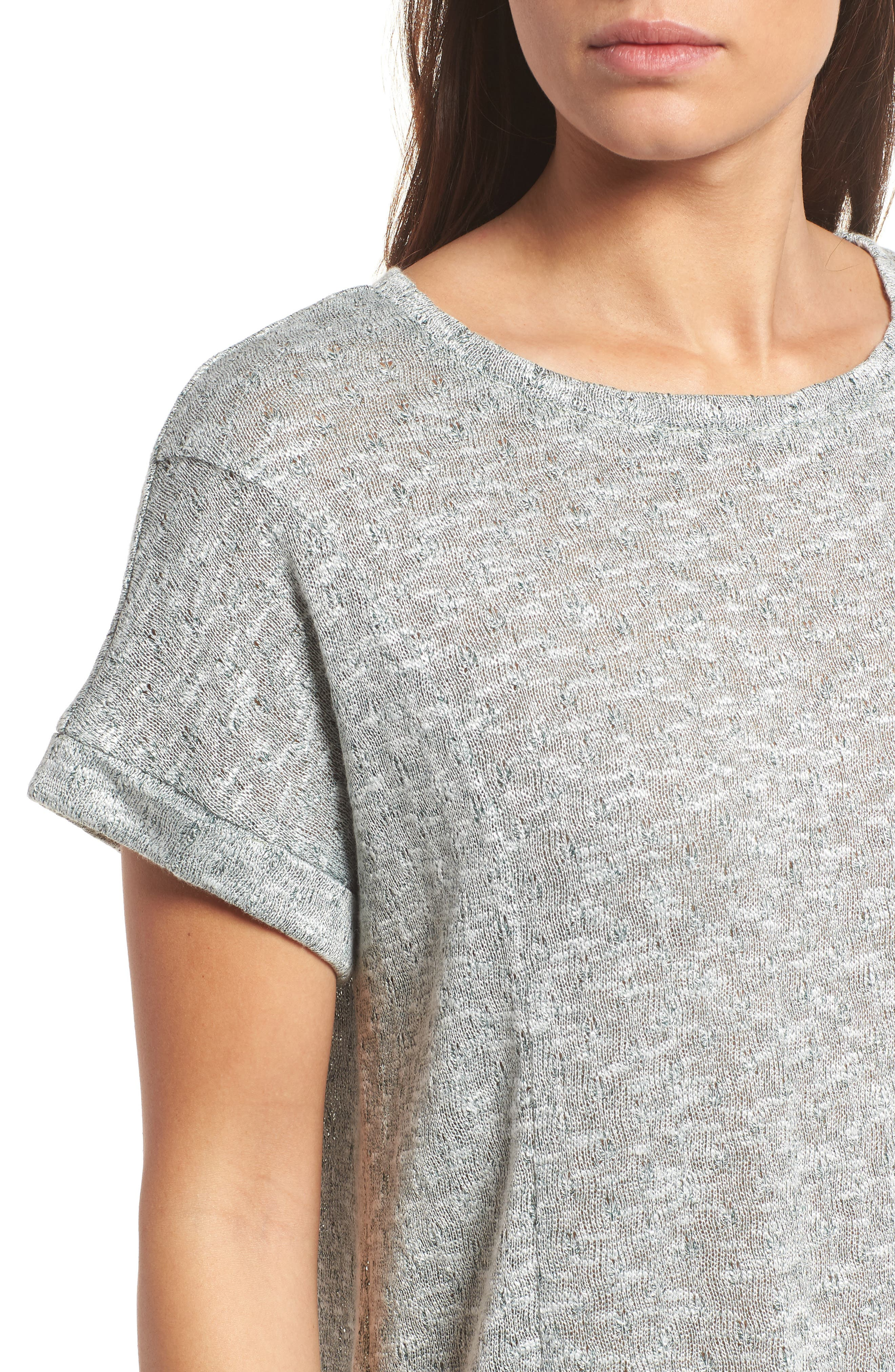 Marled Knit Short Sleeve Top,                             Alternate thumbnail 4, color,                             738-Tropic Moss