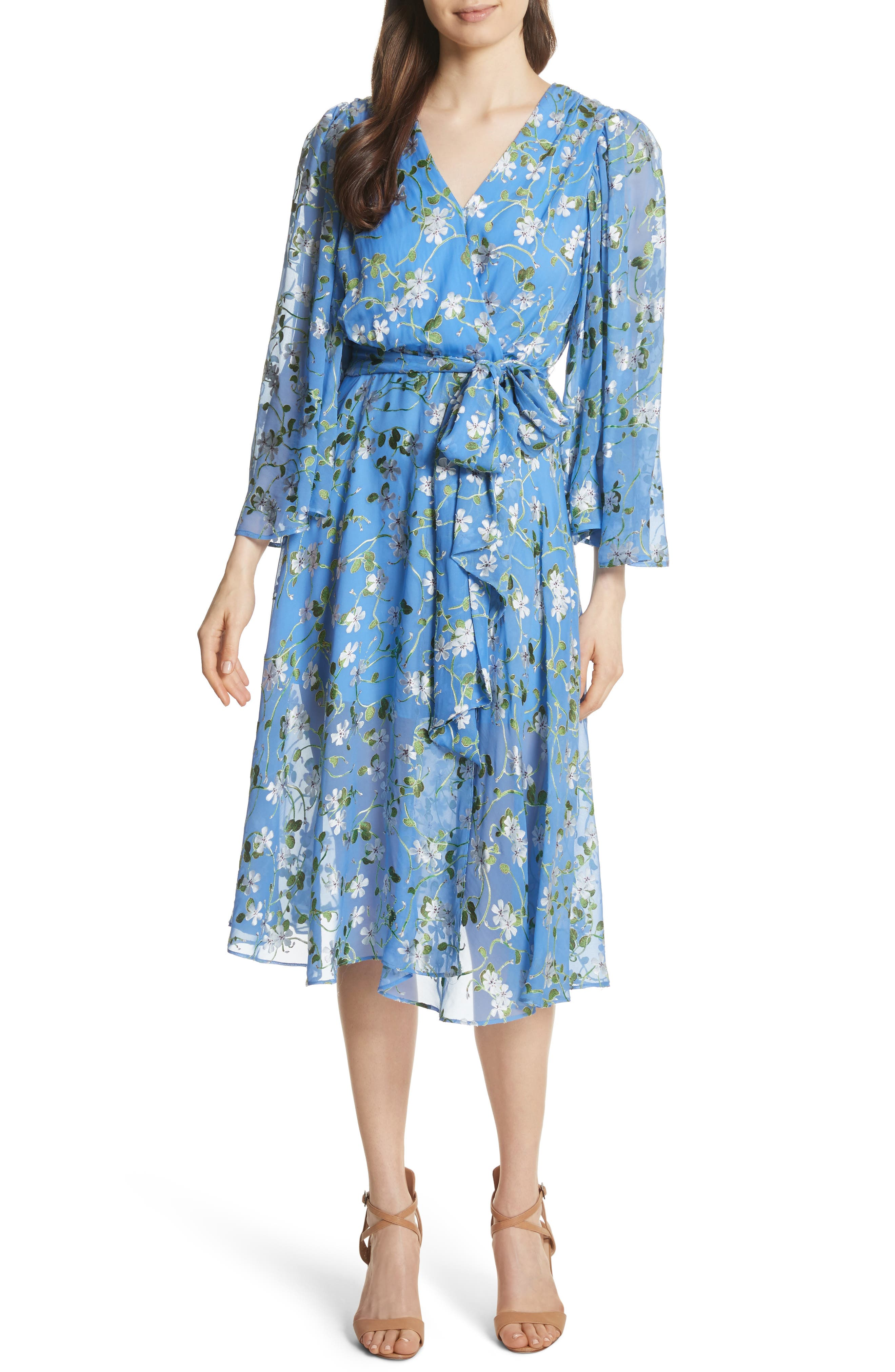 Halsey Bell Sleeve Faux Wrap Dress,                         Main,                         color, Spring Primrose-Cerulean