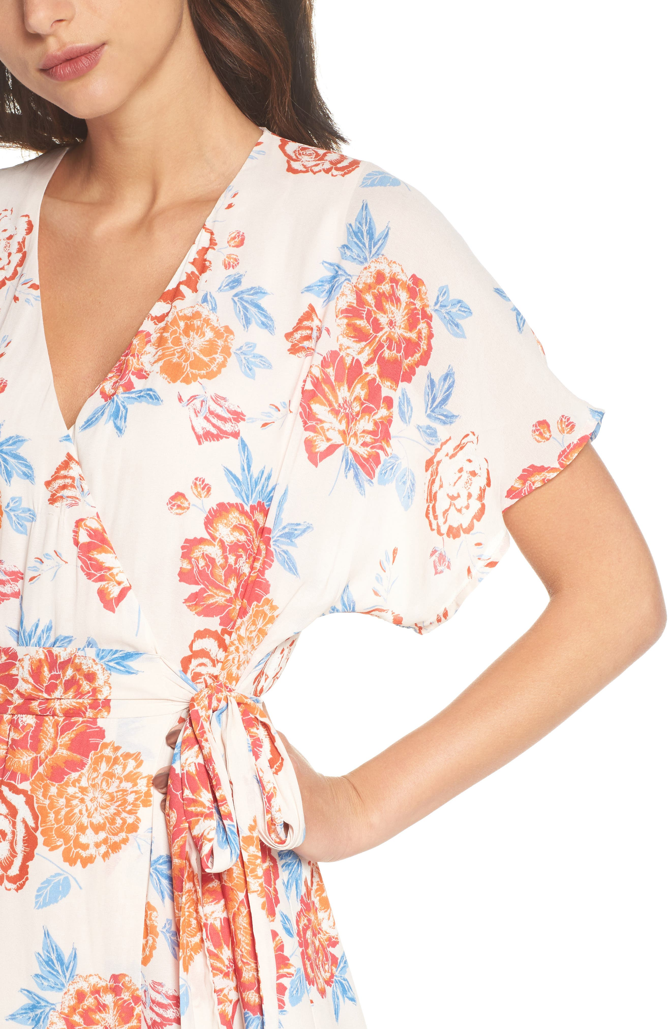 Floral Tie Waist Maxi Dress,                             Alternate thumbnail 4, color,                             Pink/ Coral Multi