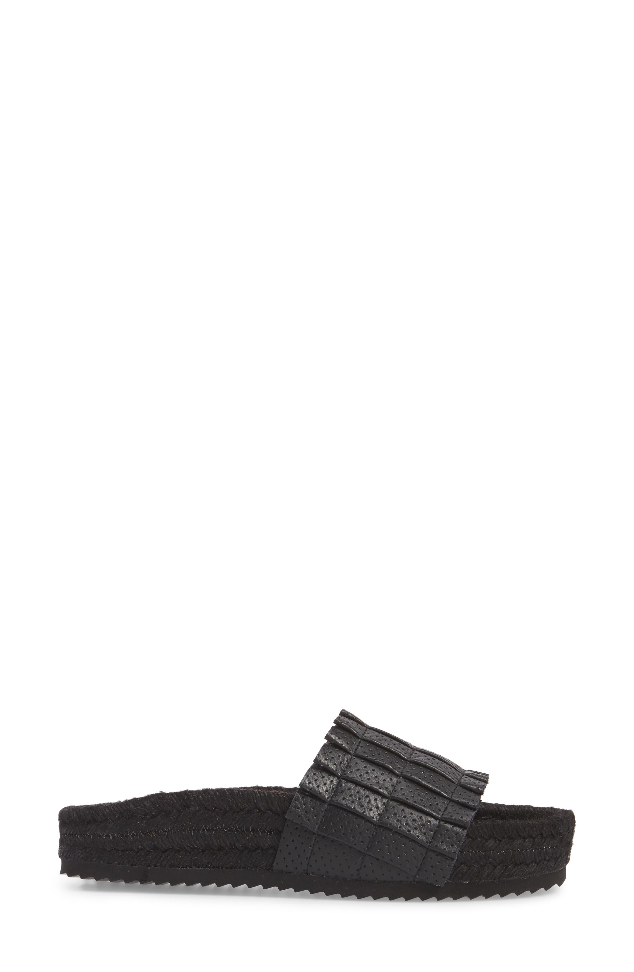Island Time Espadrille Slide Sandal,                             Alternate thumbnail 3, color,                             Black