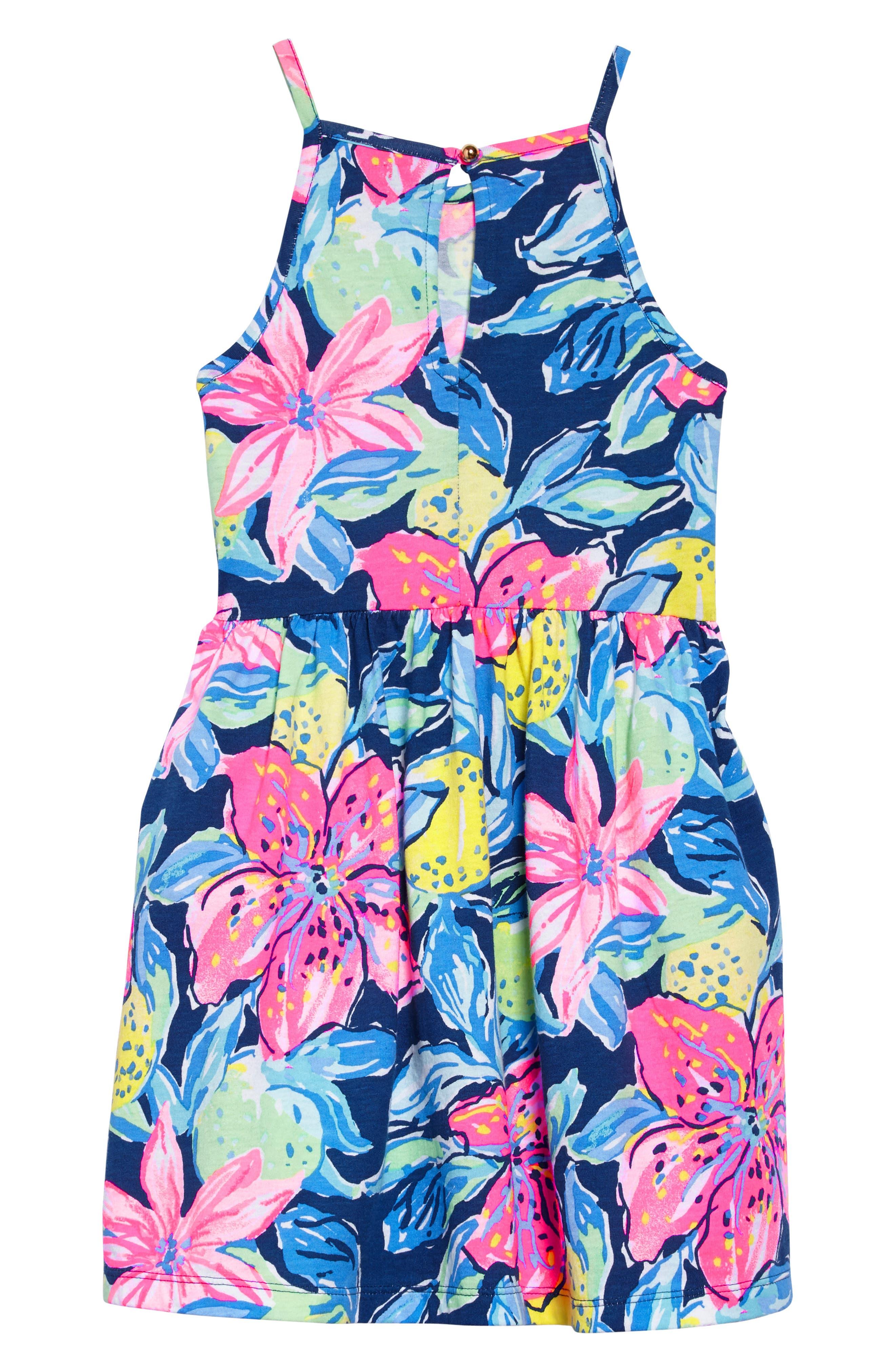 Kinley Halter Dress,                             Alternate thumbnail 2, color,                             Nauti Navy Capri Soleil