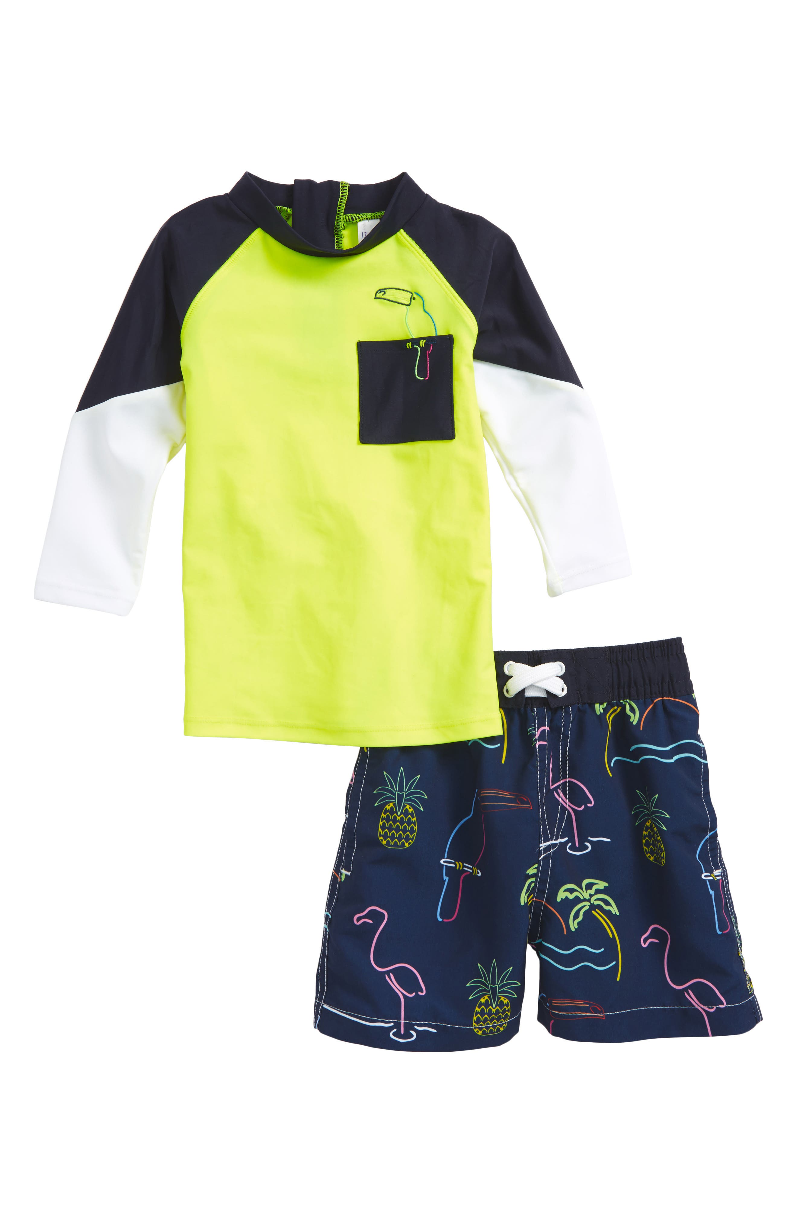 Main Image - Shade Critters Neon Sign Two-Piece Rashguard Swimsuit (Baby Boys)