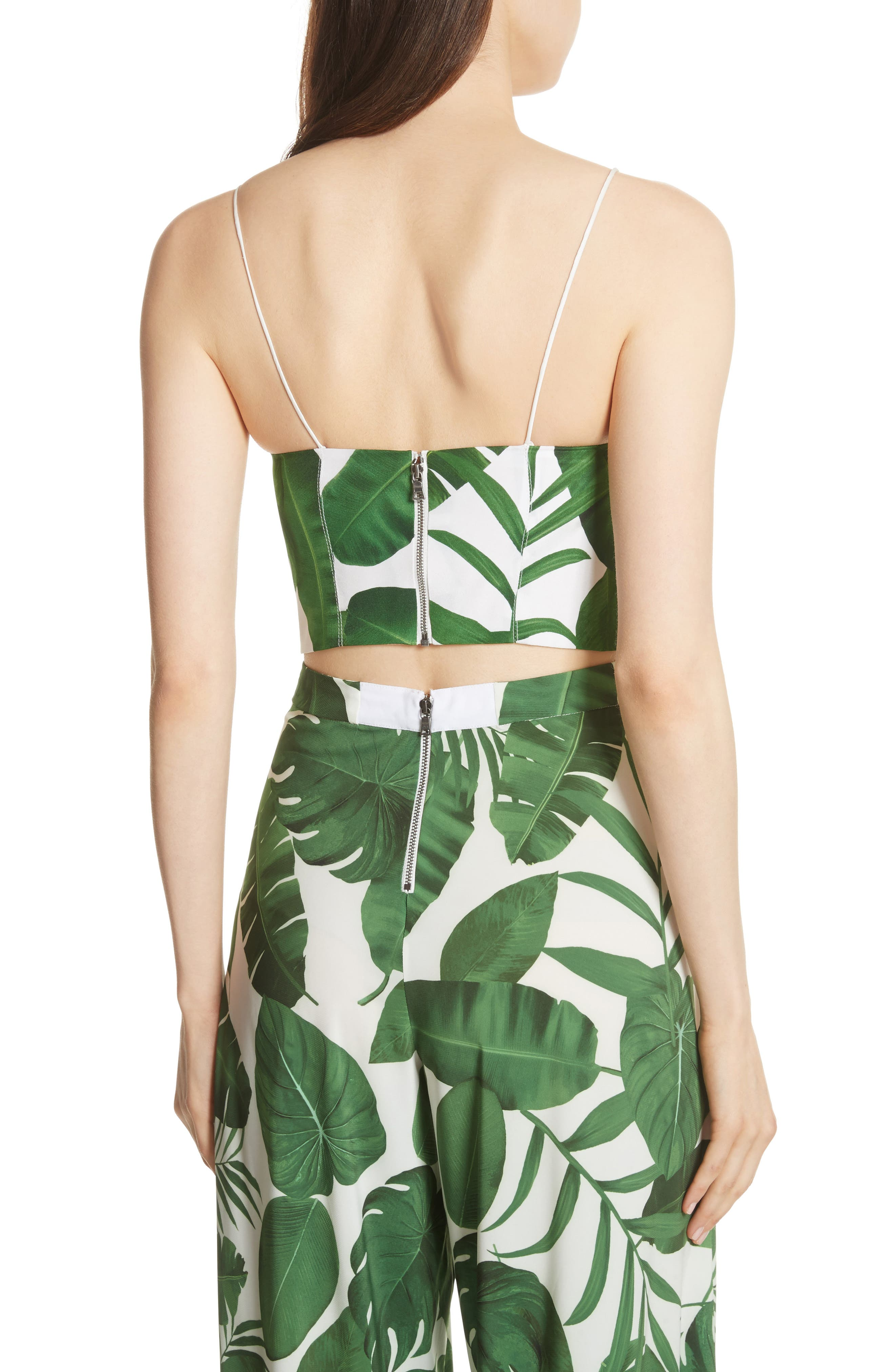 Archer Crop Silk Camisole,                             Alternate thumbnail 2, color,                             Tropical Leaves