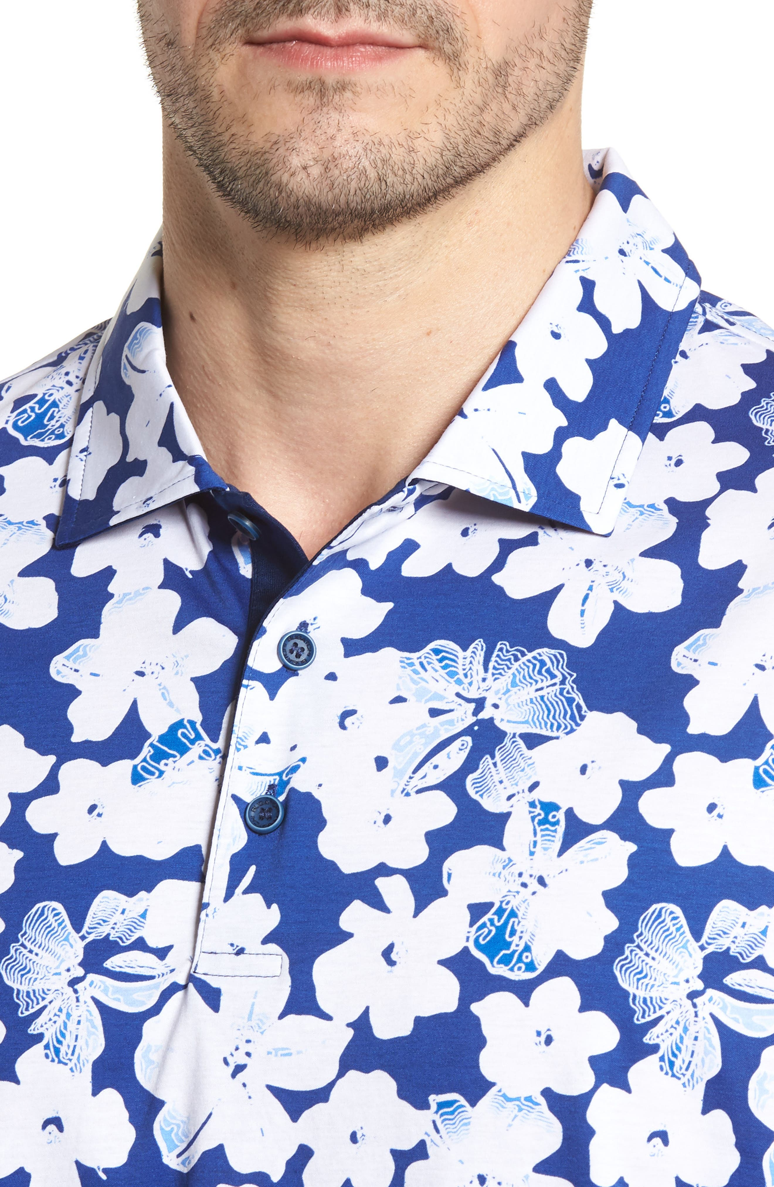Classic Fit Floral Blueprint Polo,                             Alternate thumbnail 4, color,                             Royal