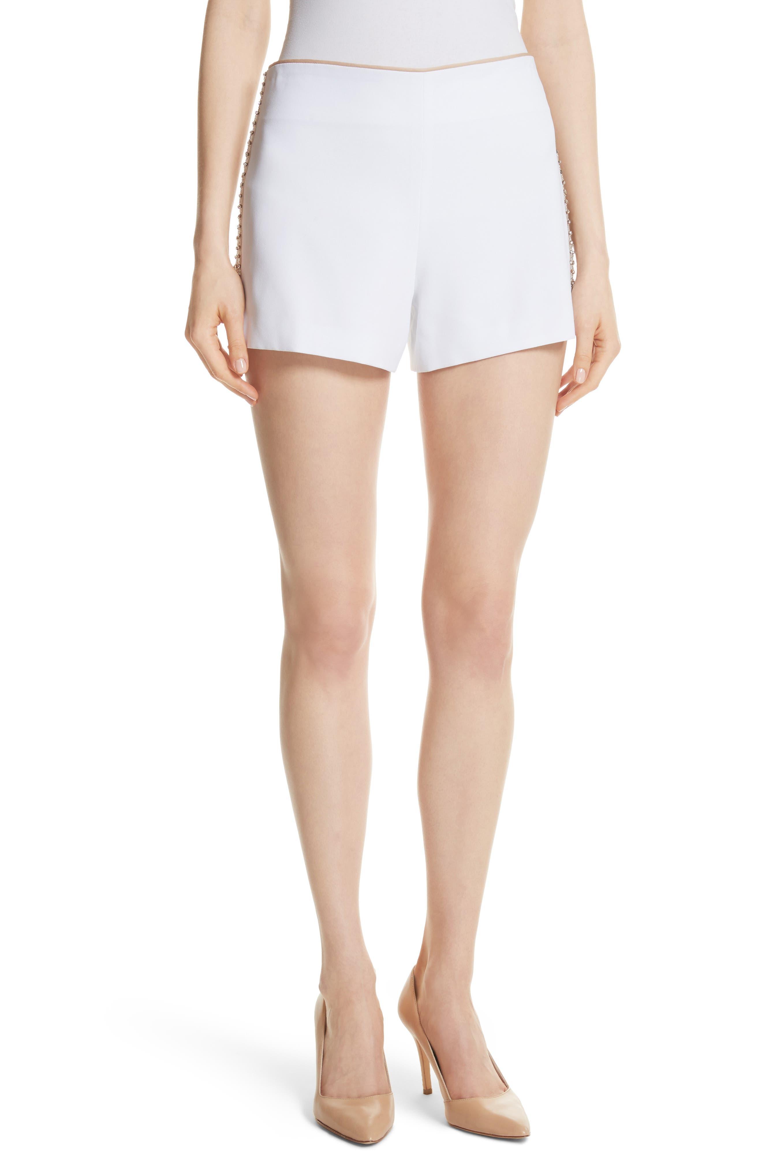 Sherri Embellished Shorts,                         Main,                         color, White