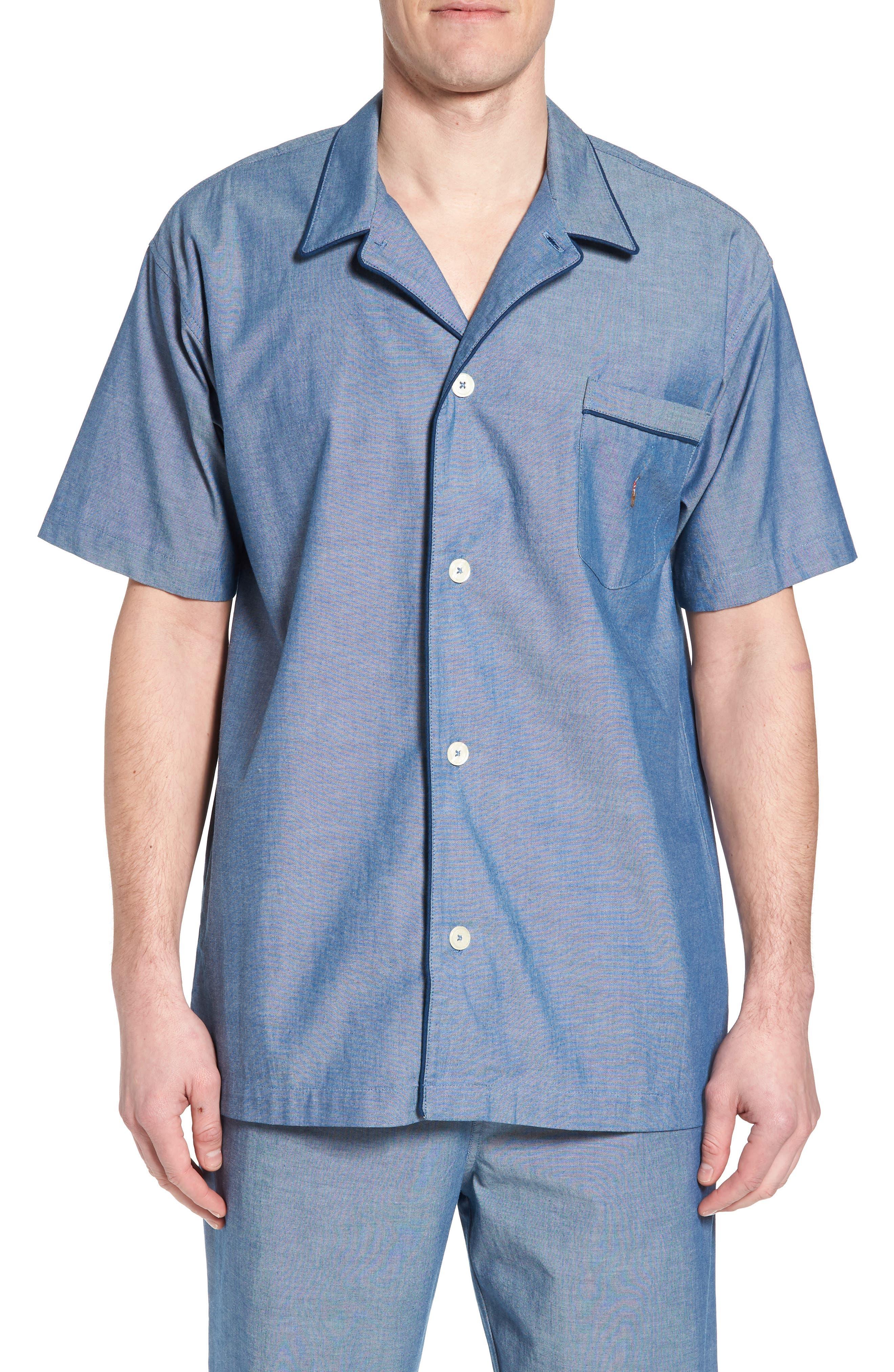 Cotton Pajama Shirt,                         Main,                         color, Medium Indigo/ Dark Indigo