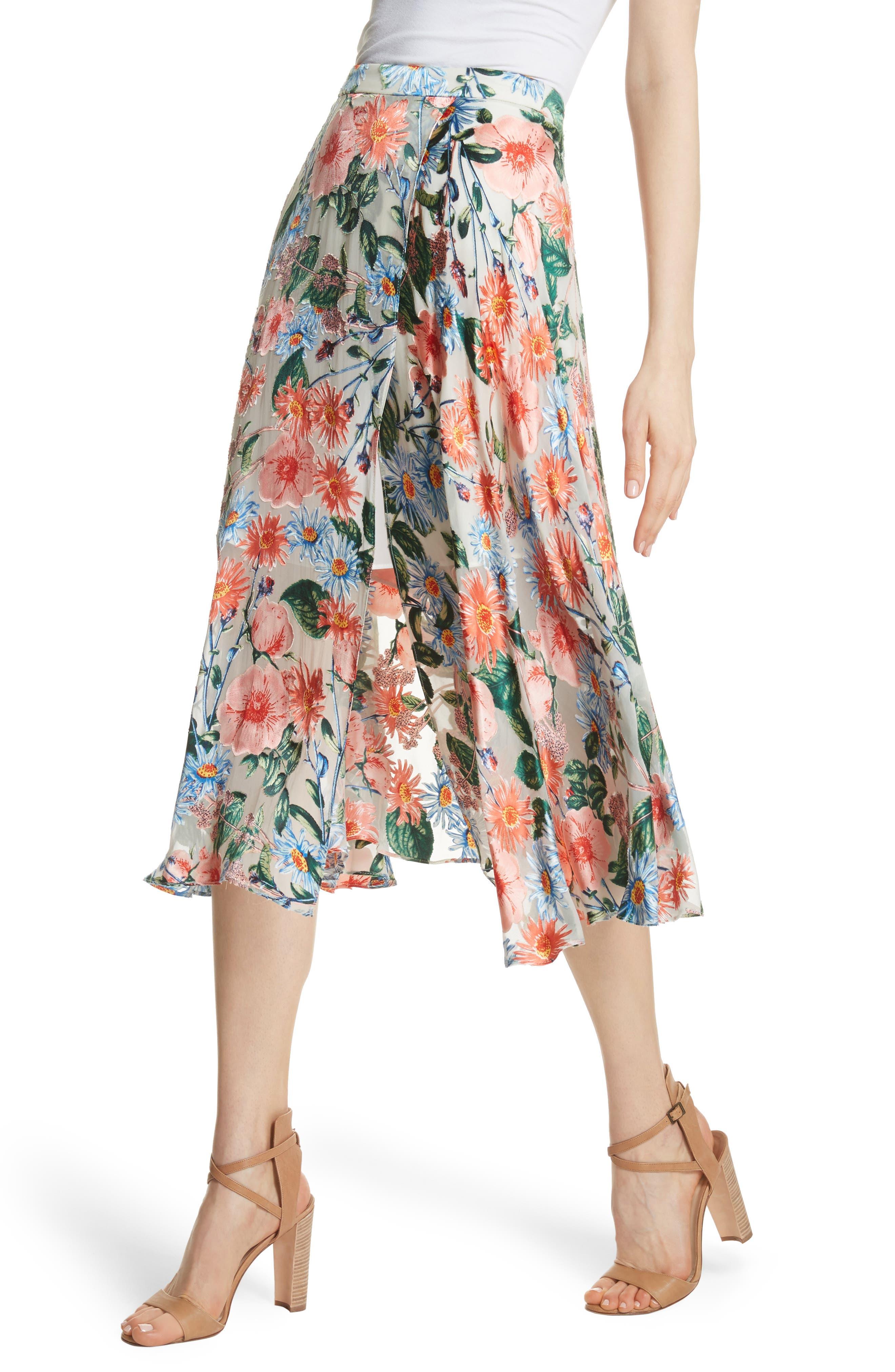 Nanette Floral Faux Wrap Skirt,                             Alternate thumbnail 4, color,                             Floral Fields