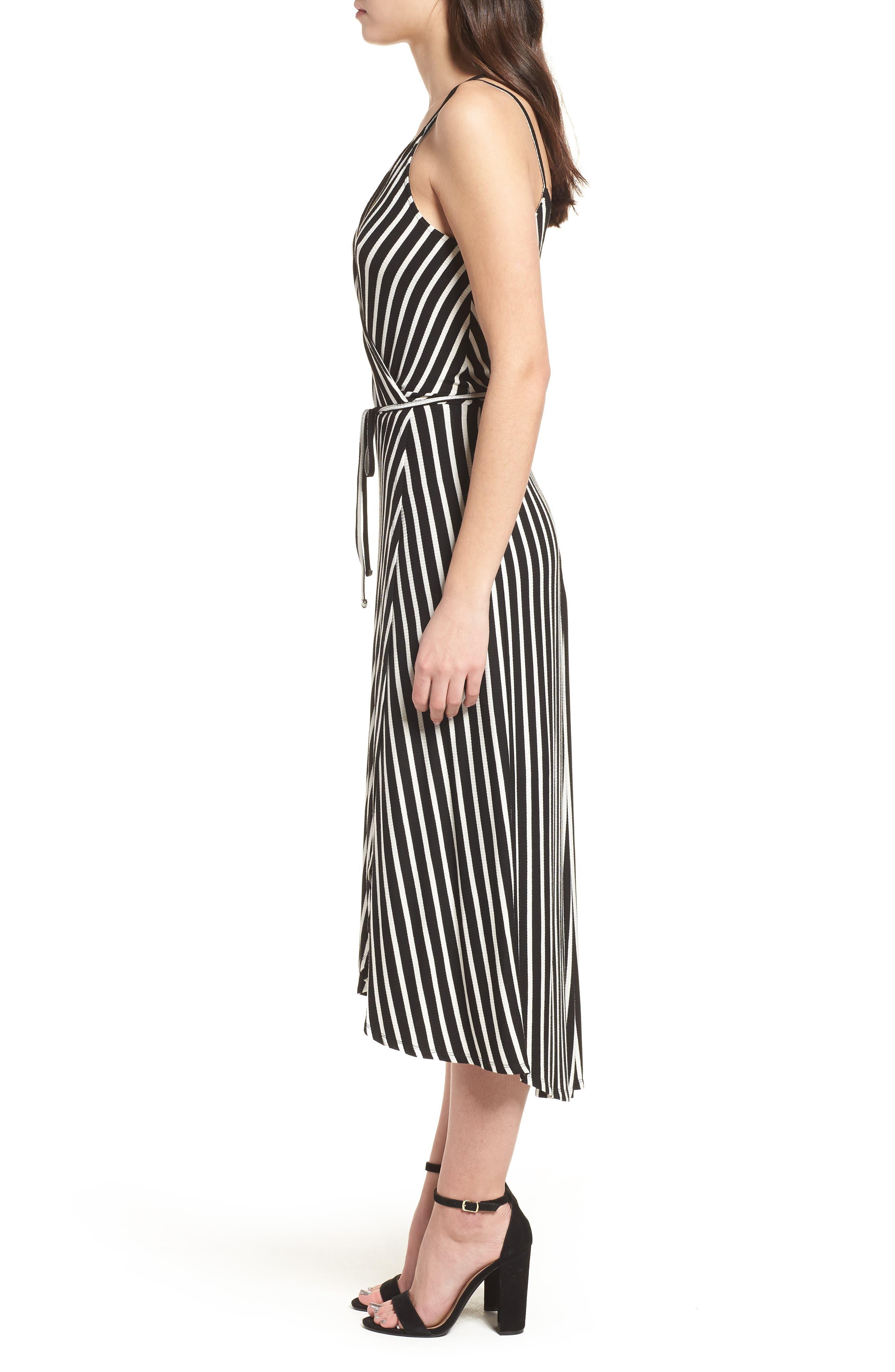 Ribbed Stripe Wrap Dress,                             Alternate thumbnail 3, color,                             Black/ White Stripe
